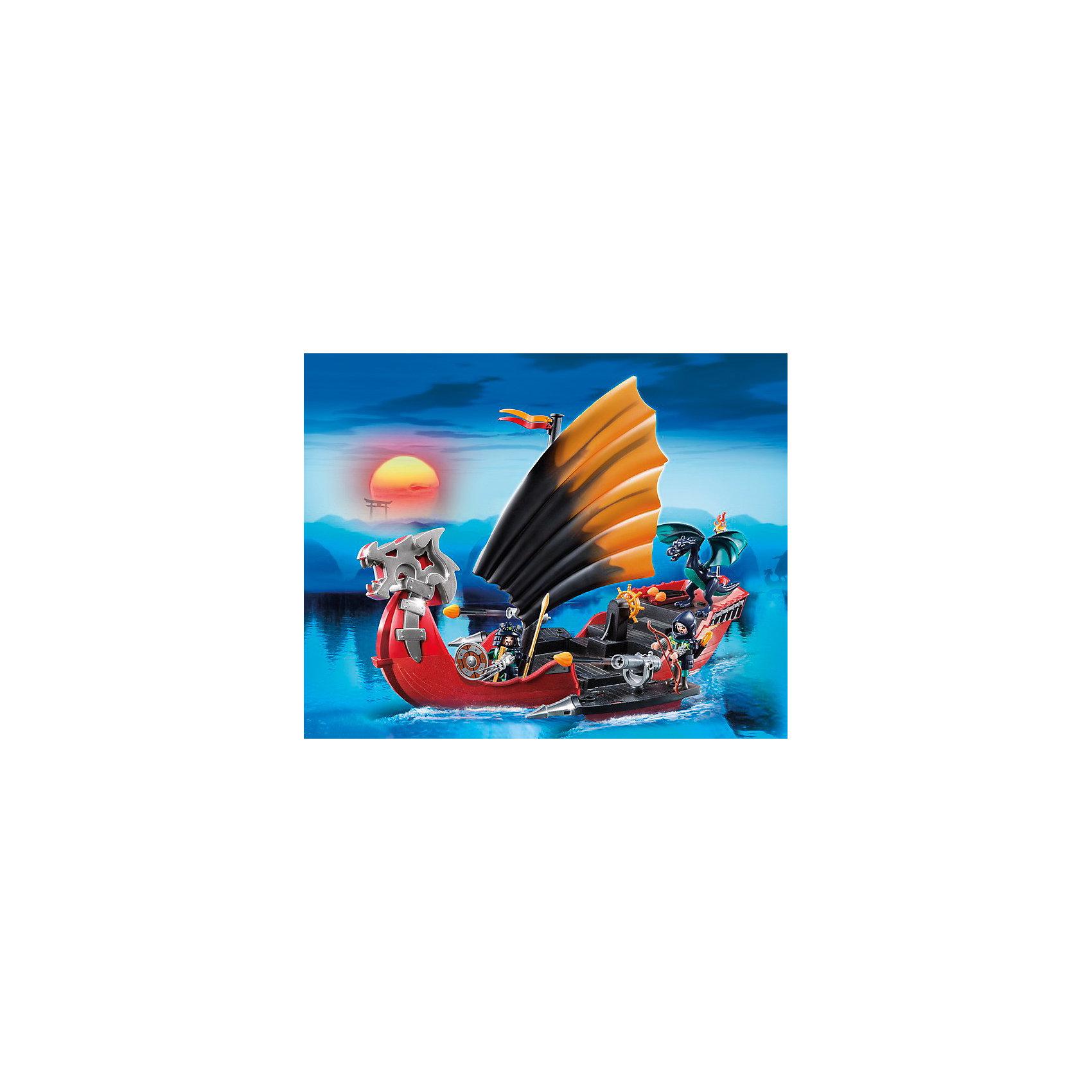 PLAYMOBIL 5481 Азиатский дракон: Корабль ДраконаДраконы и динозавры<br>Набор PLAYMOBIL 5481 - это большой мощный боевой корабль дракона с двумя воинами в доспехах и драконом. Корабль выполнен в азиатском стиле и оснащен большим парусом. В наборе много оружия, а также пушки, стреляющие огненными снарядами. Корабль можно дополнить навесным набором. Новый маленький дракон полностью подвижен.<br><br>Корабль Дракона реально держится на воде - это прекрасная возможность взять его с собой  в ванну или на речку. Корабль Дракона - это боевое судно, способное атаковать врага стремительно и со всех сторон, по его бортам расположены стреляющие пушки. А мощная носовая часть позволяет идти на таран вражеских кораблей. На палубе найдется место и для размещения мобильной десантной группы.<br>Корабль дракона можно оснастить подводным мотором № 5159 (покупается отдельно). <br><br>Дополнительная информация:<br><br>- В комплекте: боевой корабль, маленький дракон с крыльями, два воина с оружием;<br>- Материал: пластик;<br>- Размер упаковки: 50 х 15 х 40 см;<br>- Вес с упаковкой: 1,35 кг.<br><br>Азиатского дракона: Корабль дракона, PLAYMOBIL (Плеймобил) 5481  можно купить в нашем интернет-магазине.<br><br>Ширина мм: 500<br>Глубина мм: 400<br>Высота мм: 150<br>Вес г: 1350<br>Возраст от месяцев: 60<br>Возраст до месяцев: 144<br>Пол: Мужской<br>Возраст: Детский<br>SKU: 3553837