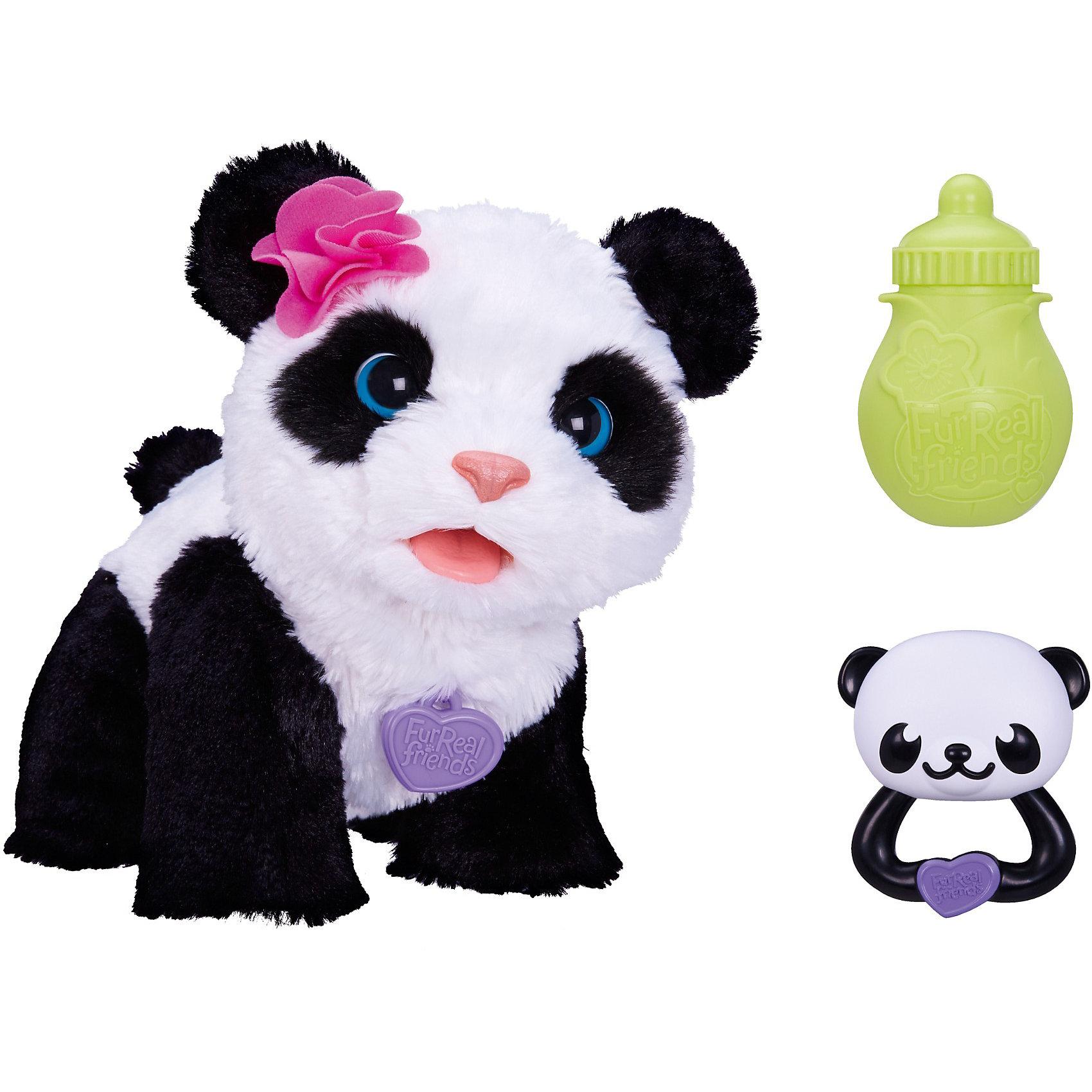 Интерактивная игрушка Малыш Панда, FurRealИнтерактивная игрушка Малыш Панда, FurReal от Hasbro станет замечательным подарком Вашему ребенку. Он получит настоящего друга и питомца, игрушка выглядит очень реалистично и похожа на маленького живого медвежонка панду. Милый медвежонок с мягкой шерсткой реагирует на заботу и внимание, нуждается в играх и кормлении. Если потрясти входящей в комплект погремушкой, медвежонок направится в Вашу сторону, во время игры издает забавные звуки. В комплект также входит бутылочка для кормления<br>питомца и погремушка для него. Игрушка развивает у ребенка заботу и ответственность, фантазию и воображение.<br><br>Дополнительная информация:<br><br>- Игрушка издает звуки и реагирует на голос<br>- В комплекте: медвежонок панда, бутылочка, погремушка, инструкция.<br>- Материал: пластик, текстиль.<br>- Требуются батарейки: 4 х AA (демонстрационные батарейки входят в комплект).<br>- Размер упаковки: 19,1 x 33 x 30,5 см.<br><br>Интерактивную игрушку Малыш Панда, FurReal можно купить в нашем интернет-магазине.<br><br>Ширина мм: 336<br>Глубина мм: 307<br>Высота мм: 193<br>Вес г: 1115<br>Возраст от месяцев: 48<br>Возраст до месяцев: 84<br>Пол: Женский<br>Возраст: Детский<br>SKU: 3555724