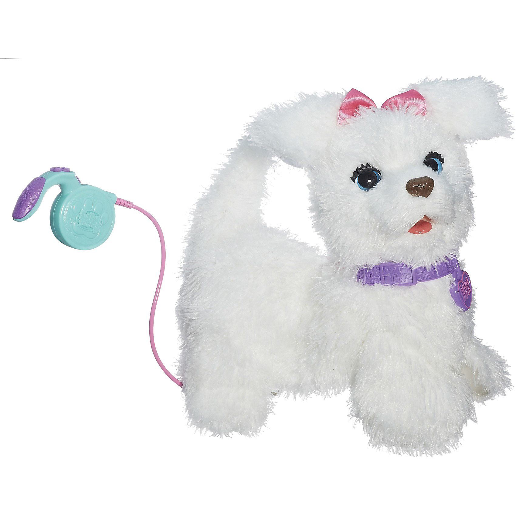 Интерактивная игрушкаЩенок ГоГо, FurRealИнтерактивная игрушка Щенок ГоГо (новая версия), FurReal станет замечательным подарком Вашему ребенку. Он получит настоящего друга и питомца, ведь игрушка выглядит и ведет себя как маленький живой щенок. Милая собачка с мягкой белой шерсткой реагирует на заботу и внимание: может вилять хвостом и двигать головой, если погладить ее по голове, начинает поворачиваться из стороны в сторону и издавать радостные звуки, если погладить щенка по бокам. <br><br>У собачки имеется поводок, с помощью которого можно управлять ее движением вперед. Собачка может бегать рядом со своим хозяином, кивать головой и махать хвостом, реагирует на его голос. Мобильное приложение предоставляет дополнительные возможности для игры: если синхронизировать игрушку с Вашим смартфоном, малыш сможет кормить щенка и отдавать ему команды.<br>Игра с забавным щенком ГоГо развивает у ребенка заботу и ответственность, фантазию и воображение.<br><br>Дополнительная информация:<br><br>- В комплекте: интерактивный щенок ГоГо (GoGo), пульт управления, инструкция.<br>- Материал: плюш, текстиль, пластик.<br>- Требуются батарейки: 4 х С / LR14 1.5V (не входят в комплект).<br>- Размер упаковки: 35,6 x 19,1 x 35,6 см.<br>- Вес: 2,5 кг.<br><br>Интерактивную игрушку Щенок ГоГо (новая версия), FurReal можно купить в нашем интернет-магазине.<br><br>Ширина мм: 369<br>Глубина мм: 357<br>Высота мм: 200<br>Вес г: 1484<br>Возраст от месяцев: 48<br>Возраст до месяцев: 84<br>Пол: Женский<br>Возраст: Детский<br>SKU: 3555725