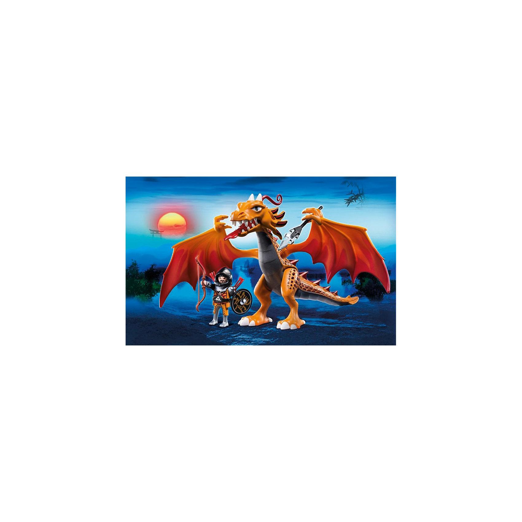 PLAYMOBIL 5483 Азиатский дракон: Огненный драконPlaymobil (Плэймобил) 5483 - поражающий воображения игровой набор с элементами конструктора. В наборе Playmobil (Плэймобил) 5483 представлены большой устрашающий дракон, с подвижными крыльями и лапами, которыми он может держит оружие, и храбрый воин с оружием, который обязан победить огнедышащее чудовище.  Воин может оседлать дракона и он будет крепко держаться, упираясь ногами в крылья. Игровой набор с элементами конструктора - идеальный вариант для игр уже подросшего ребенка, он может разыгрывать различные истории, подсмотренные в фильмах или придумывать их сам.<br>Дай волю фантазии!  <br><br>Дополнительная информация:<br><br>- В комплекте: большой дракон с крыльями, которые поднимаются и опускаются, воин в доспехах и с оружием;<br>- Материал: пластик;<br>- Размер упаковки: 35 х 10 х 25 см;<br>- Вес с упаковкой: 400 г.<br><br>Азиатского дракона: Огненного дракона, PLAYMOBIL (Плеймобил) 5483 можно купить в нашем интернет-магазине.<br><br>Ширина мм: 350<br>Глубина мм: 250<br>Высота мм: 100<br>Вес г: 400<br>Возраст от месяцев: 60<br>Возраст до месяцев: 144<br>Пол: Мужской<br>Возраст: Детский<br>SKU: 3557220