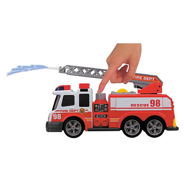 Пожарная машина, 37 см, Dickie ToysМашинки<br>Пожарная машина 37см со свободным ходом, световыми и звуковыми эффектами. У машины поднимается-опускается и выдвигается лестница. Есть функция разбрызгивания воды.<br><br>Ширина мм: 458<br>Глубина мм: 243<br>Высота мм: 157<br>Вес г: 1217<br>Возраст от месяцев: 36<br>Возраст до месяцев: 84<br>Пол: Мужской<br>Возраст: Детский<br>SKU: 3559875