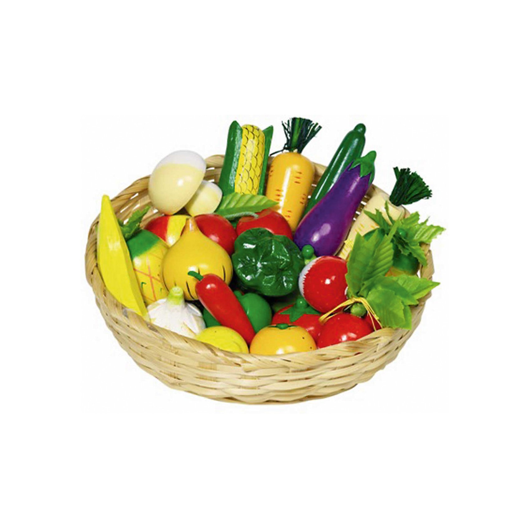 goki Набор игрушечный Овощи и Фрукты 23шт в корзинке, GOKI