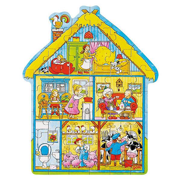 Пазл в коробке фигурный 43 дет Дом, GOKIПазлы для малышей<br>Пазл в коробке фигурный 43 дет Дом, GOKI (Гоки)-это интересный и красивый классический пазл из натурального дерева.<br><br>Пазл состоит из 43 частей. Ребенок сможет познакомиться с обитателями дома и придумывать про них веселые истории. Дом, в котором есть все, и в котором рады каждому!<br><br>Дополнительная информация:<br><br>-Материалы: дерево<br>-Размер: 30х37 см<br><br>Отличный подарок, развивающий мелкую моторику ребенка, речь, любознательность и логику. Пазл не только интересно собирать, благодаря деревянной рамке он украсит стену в детской комнате.<br><br>Пазл в коробке фигурный 43 дет Дом, GOKI (Гоки) можно купить в нашем магазине.<br><br>Ширина мм: 100<br>Глубина мм: 200<br>Высота мм: 300<br>Вес г: 500<br>Возраст от месяцев: 36<br>Возраст до месяцев: 96<br>Пол: Унисекс<br>Возраст: Детский<br>SKU: 3561257