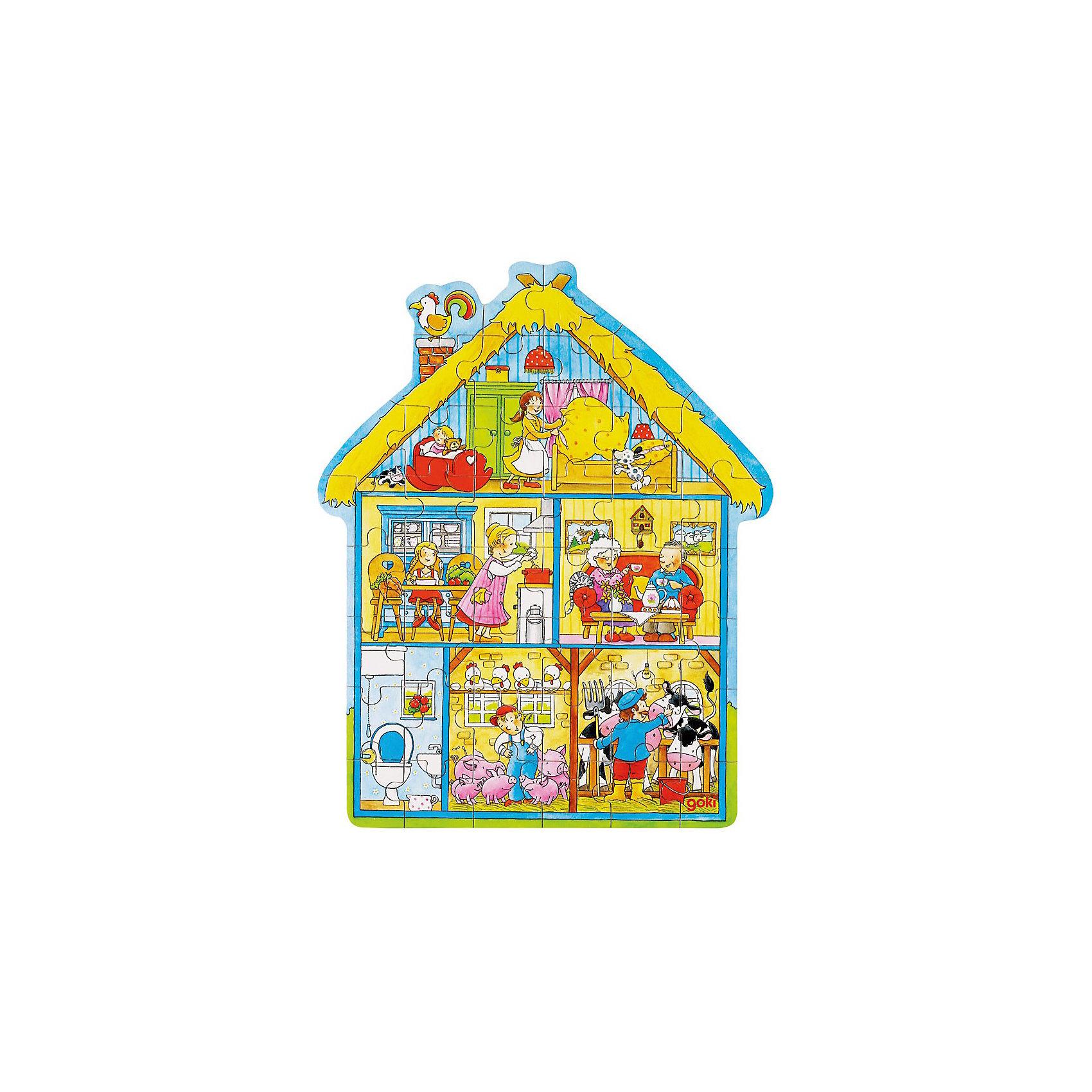Пазл в коробке фигурный 43 дет Дом, GOKIПазл в коробке фигурный 43 дет Дом, GOKI (Гоки)-это интересный и красивый классический пазл из натурального дерева.<br><br>Пазл состоит из 43 частей. Ребенок сможет познакомиться с обитателями дома и придумывать про них веселые истории. Дом, в котором есть все, и в котором рады каждому!<br><br>Дополнительная информация:<br><br>-Материалы: дерево<br>-Размер: 30х37 см<br><br>Отличный подарок, развивающий мелкую моторику ребенка, речь, любознательность и логику. Пазл не только интересно собирать, благодаря деревянной рамке он украсит стену в детской комнате.<br><br>Пазл в коробке фигурный 43 дет Дом, GOKI (Гоки) можно купить в нашем магазине.<br><br>Ширина мм: 100<br>Глубина мм: 200<br>Высота мм: 300<br>Вес г: 500<br>Возраст от месяцев: 36<br>Возраст до месяцев: 96<br>Пол: Унисекс<br>Возраст: Детский<br>SKU: 3561257