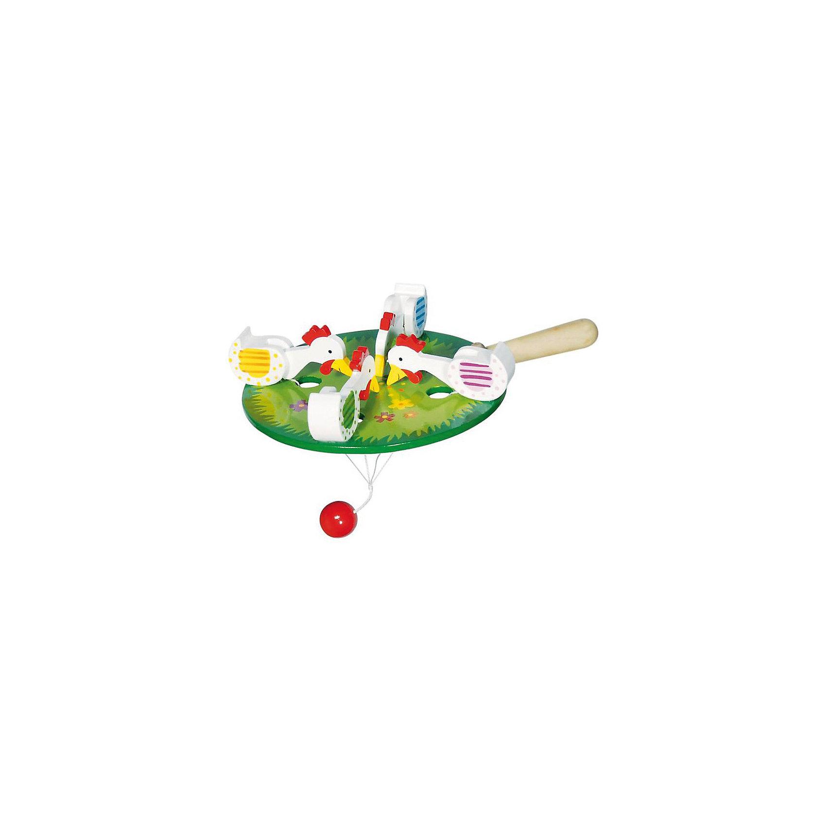Игрушка-стучалка 4 курочки GOKIИгрушка-стучалка 4 курочки, GOKI (Гоки) - традиционная русская народная игрушка-забава, которая так понравилась европейцам, что они включили ее в свой ассортимент.<br><br>Четыре курочки поочередно клюют нарисованные на зеленой лужайке зернышки благодаря тяжелому противовесу-шарику.<br><br>Дополнительная информация:<br><br>-Материалы: дерево<br>-Диаметр круга: 13 см<br><br>Стучалка для самых маленьких благодаря ярким краскам и забавному стуку привлечет внимание вашего малыша и будет способствовать развитию его тактильных навыков, мелкой моторики и зрительному восприятию.<br><br>Игрушку-стучалку 4 курочки, GOKI (Гоки) можно купить в нашем магазине.<br><br>Ширина мм: 100<br>Глубина мм: 200<br>Высота мм: 300<br>Вес г: 500<br>Возраст от месяцев: 12<br>Возраст до месяцев: 36<br>Пол: Унисекс<br>Возраст: Детский<br>SKU: 3561263