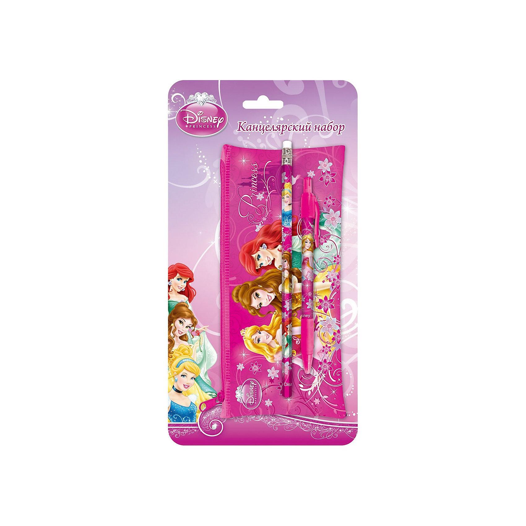 Набор канцелярский с пеналом, Принцессы ДиснейКанцелярский набор в блистере Disney Princess (Принцессы Диснея) порадует маленькую школьницу и сделает ее занятия еще увлекательнее. В комплект входят пластиковый прямоугольный пенал, карандаш ч/г с ластиком и авторучка. Все принадлежности оформлены в розовых тонах с изображениями диснеевских принцесс.<br><br>Дополнительная информация:<br><br>- Материал: пластик.<br>- Размер: 25,5 х 12,5 х 2 см.<br>- Вес: 67 гр.<br><br>Канцелярский набор Disney Princess можно купить в нашем интернет-магазине.<br><br>Ширина мм: 255<br>Глубина мм: 125<br>Высота мм: 20<br>Вес г: 67<br>Возраст от месяцев: 60<br>Возраст до месяцев: 96<br>Пол: Женский<br>Возраст: Детский<br>SKU: 3562905