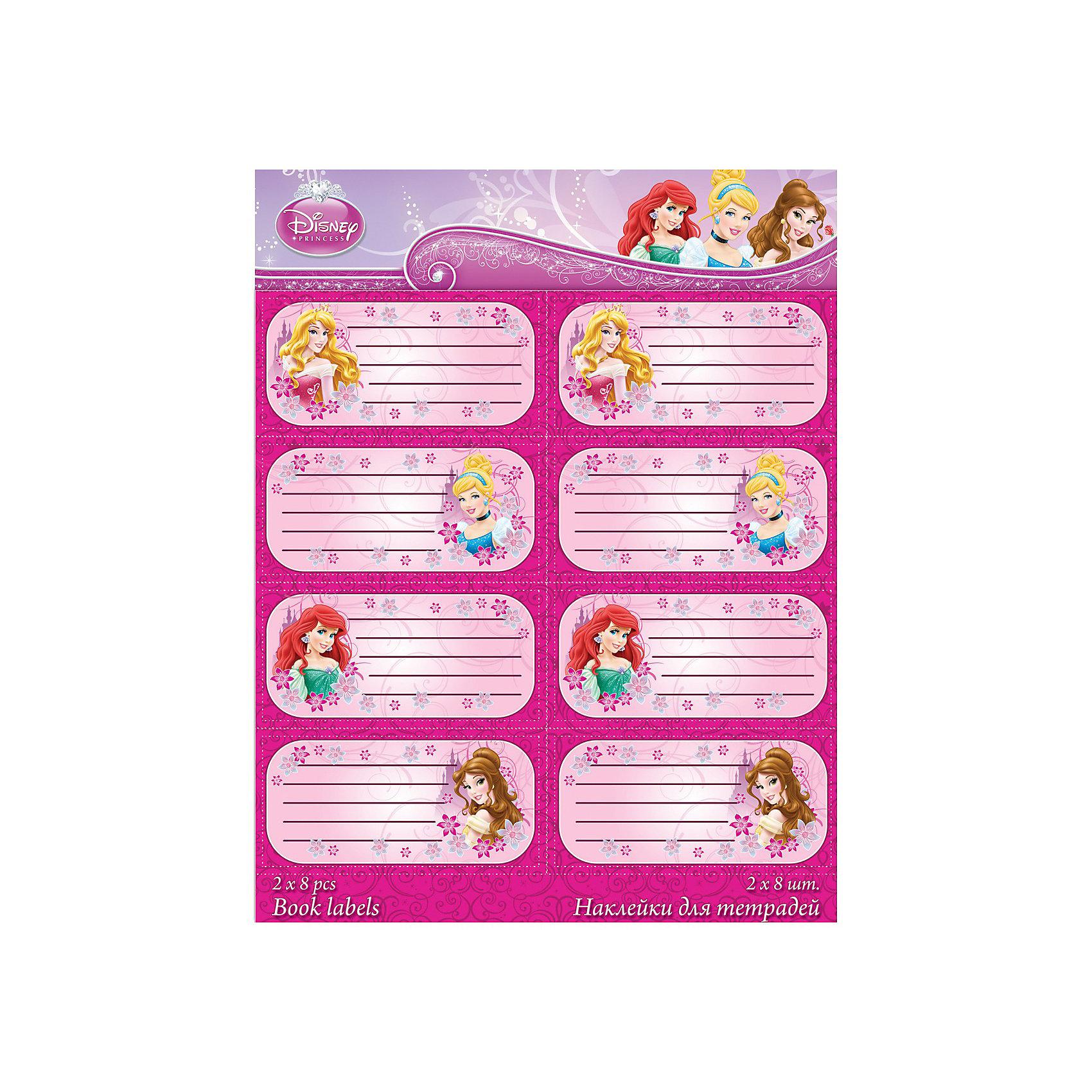 Наклейки для тетрадей, Принцессы ДиснейНаклейки для подписи тетрадей Disney Princess для девочек с обворожительными принцессами. Сказочные девушки для прилежных девочек. Такие изображения украсят даже самую простенькую тетрадь, и будут приносить детям чуть больше радости от школьных уроков.<br>Дополнительная информация:<br><br>- размеры: 20х16 см.<br>- 2 листа по 8 шт.<br>- печать на глянцевой бумаге<br><br>Наклейки для подписи тетрадей Disney Princess можно купить в нашем магазине.<br><br>Ширина мм: 200<br>Глубина мм: 160<br>Высота мм: 10<br>Вес г: 100<br>Возраст от месяцев: 48<br>Возраст до месяцев: 84<br>Пол: Женский<br>Возраст: Детский<br>SKU: 3562916