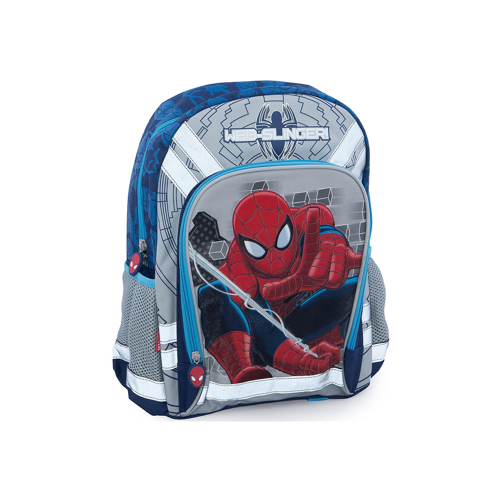Школьный рюкзак, Человек-ПаукРюкзак украшен изображением любимого героя всех мальчиков - Spider-man (Человек-паук). У рюкзака уплотненная спинка с вентиляционной сеткой, два отделения, внутри основного отделения находятся два разделителя, внутри другого отделения расположен карман-сетка на резинке.<br>Два кармана по бокам рюкзака. Один карман на липучке и сетчатый карман на резинке.<br>Полумягкая уплотненная спинка выполнена с использованием высокотехнологичного упругого материала (EVA) и специально расположенных ортопедических элементов с воздухообменной сеткой, служащих для правильного и безопасного распределения нагрузки на спину ребенка.<br>Лямки рюкзака специальной S-образной формы с поролоном и воздухообменной сеткой регулируются по длине. Данные конструктивные особенности помогут обеспечить максимальный комфорт при ношении рюкзака за спиной ребенку любой комплекции.<br>Текстильная ручка с резиновым обхватом.<br><br>Дополнительная информация:<br><br>- размер 39 х 31 х 12 см. <br>- вес: 579 гр.<br><br>Рюкзак  Spider Man можно купить в нашем магазине.<br><br>Ширина мм: 400<br>Глубина мм: 300<br>Высота мм: 130<br>Вес г: 579<br>Возраст от месяцев: 48<br>Возраст до месяцев: 84<br>Пол: Мужской<br>Возраст: Детский<br>SKU: 3562969