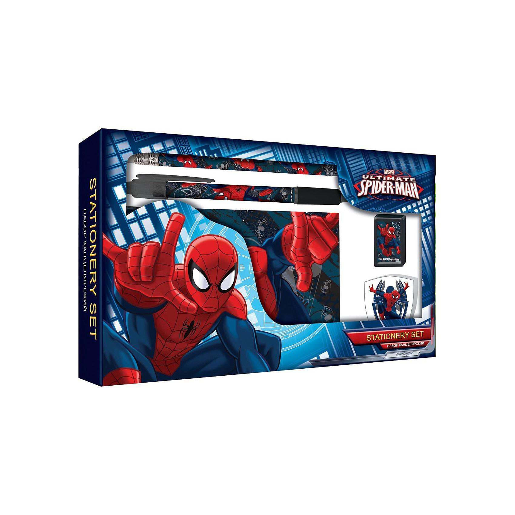 Набор канцелярский в подарочной коробке, Человек-ПаукЧеловек-Паук<br>Канцелярский набор Spider man (Человек Паук) порадует маленького школьника стильными дизайном в стиле любимого персонажа Человека-паука. В комплект входят ручка, записная книжка. карандаш ч/г, точилка и ластик. Все предметы украшены изображениями Spider man.<br><br>Дополнительная информация:<br><br>- В комплекте: ручка, записная книжка. карандаш ч/г, точилка, ластик.<br>- Размер упаковки: 3 х 21 х 14 см.<br>- Вес:  0,189 кг.<br><br>Канцелярский набор Spider man можно купить в нашем интернет-магазине.<br><br>Ширина мм: 220<br>Глубина мм: 140<br>Высота мм: 30<br>Вес г: 182<br>Возраст от месяцев: -2147483648<br>Возраст до месяцев: 2147483647<br>Пол: Мужской<br>Возраст: Детский<br>SKU: 3562985