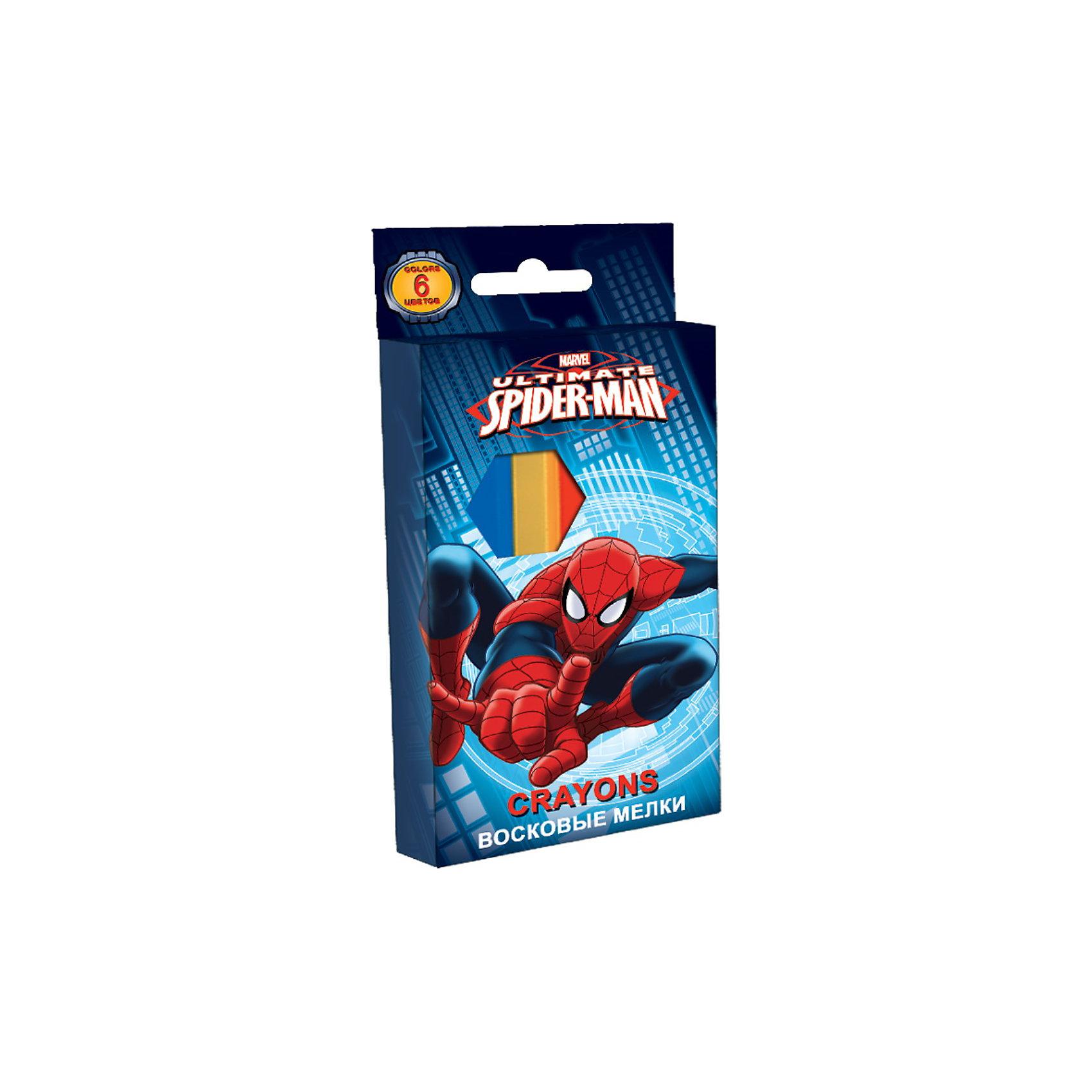 Восковые мелки, 6 цветов, Человек-ПаукВосковые мелки с изображением Человека-паука (Spider Man) станут лучшими помощниками Вашего ребенка в творчестве! Станет прекрасным подарком Вашему ребенку! <br><br>Дополнительная информация:<br><br>- 12 цветов<br>- длина - 90 мм.<br>- диаметр 10 мм<br>- предназначены для рисования, разметки и письма по бумаге, картону, дереву<br>- размеры упаковки: 8 х 13 см<br><br>Восковые мелки с изображением Spider Man можно купить в нашем магазине.<br><br>Ширина мм: 100<br>Глубина мм: 100<br>Высота мм: 10<br>Вес г: 100<br>Возраст от месяцев: 48<br>Возраст до месяцев: 84<br>Пол: Мужской<br>Возраст: Детский<br>SKU: 3562989