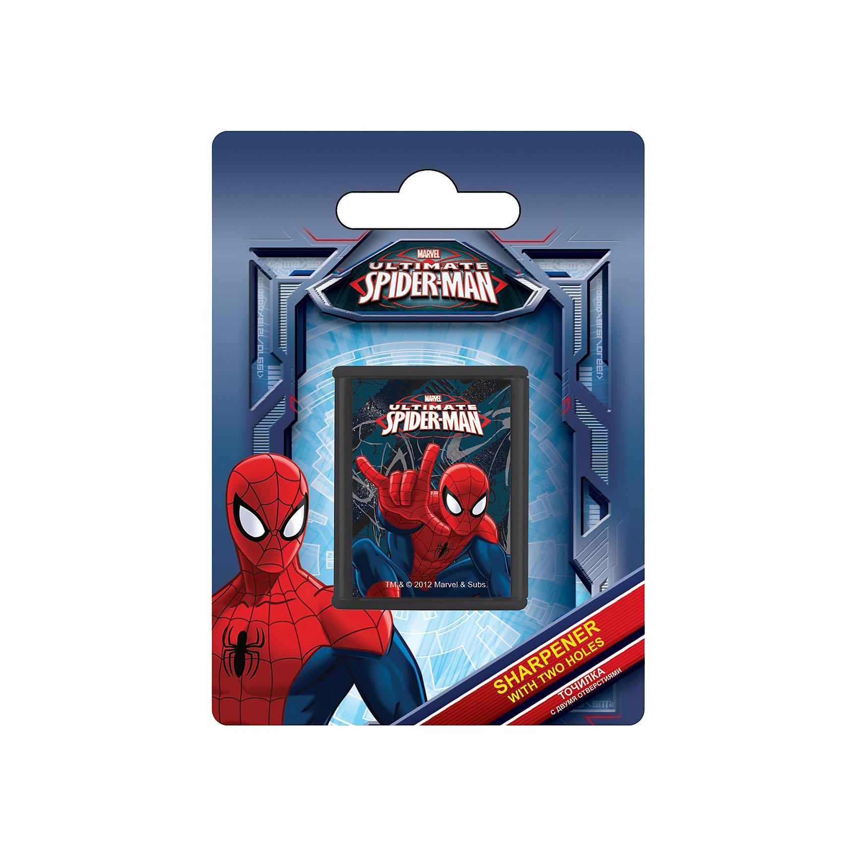 Точилка с двумя отверстиями, Человек-ПаукТочилка с двумя отверстиями, 1шт.  с изображением Spider Man станет прекрасным помощником Вашему  мальчику в школе! <br><br>Дополнительная информация:<br> <br>- размер 11х 8 х 2,5 см.<br> <br>Карандаши Вашего мальчика всегда будут готовы к работе!<br><br>Точилку с двумя отверстиями, Человек-паук можно купить в нашем магазине.<br><br>Ширина мм: 110<br>Глубина мм: 80<br>Высота мм: 25<br>Вес г: 21<br>Возраст от месяцев: 48<br>Возраст до месяцев: 84<br>Пол: Мужской<br>Возраст: Детский<br>SKU: 3562997