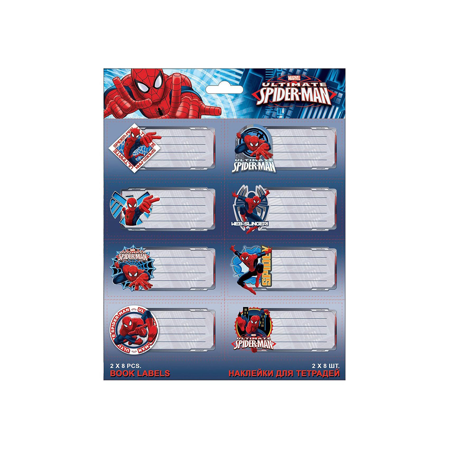 Наклейки для тетрадей, Человек-ПаукЧеловек-Паук<br>Наклейки для подписи тетрадей с изображениями супергероя Spider Man (Человек-паук) созданы специально для мальчиков. Такие изображения украсят даже самую простенькую тетрадь, и будут приносить детям чуть больше радости от школьных уроков.<br><br>Дополнительная информация:<br><br>- размеры упаковки: 20х16см.<br>- 2 листа по 8 шт.<br>- печать на глянцевой бумаге<br><br>Наклейки для подписи тетрадей Spider Man можно купить в нашем магазине.<br><br>Ширина мм: 200<br>Глубина мм: 160<br>Высота мм: 10<br>Вес г: 100<br>Возраст от месяцев: 48<br>Возраст до месяцев: 84<br>Пол: Мужской<br>Возраст: Детский<br>SKU: 3562998