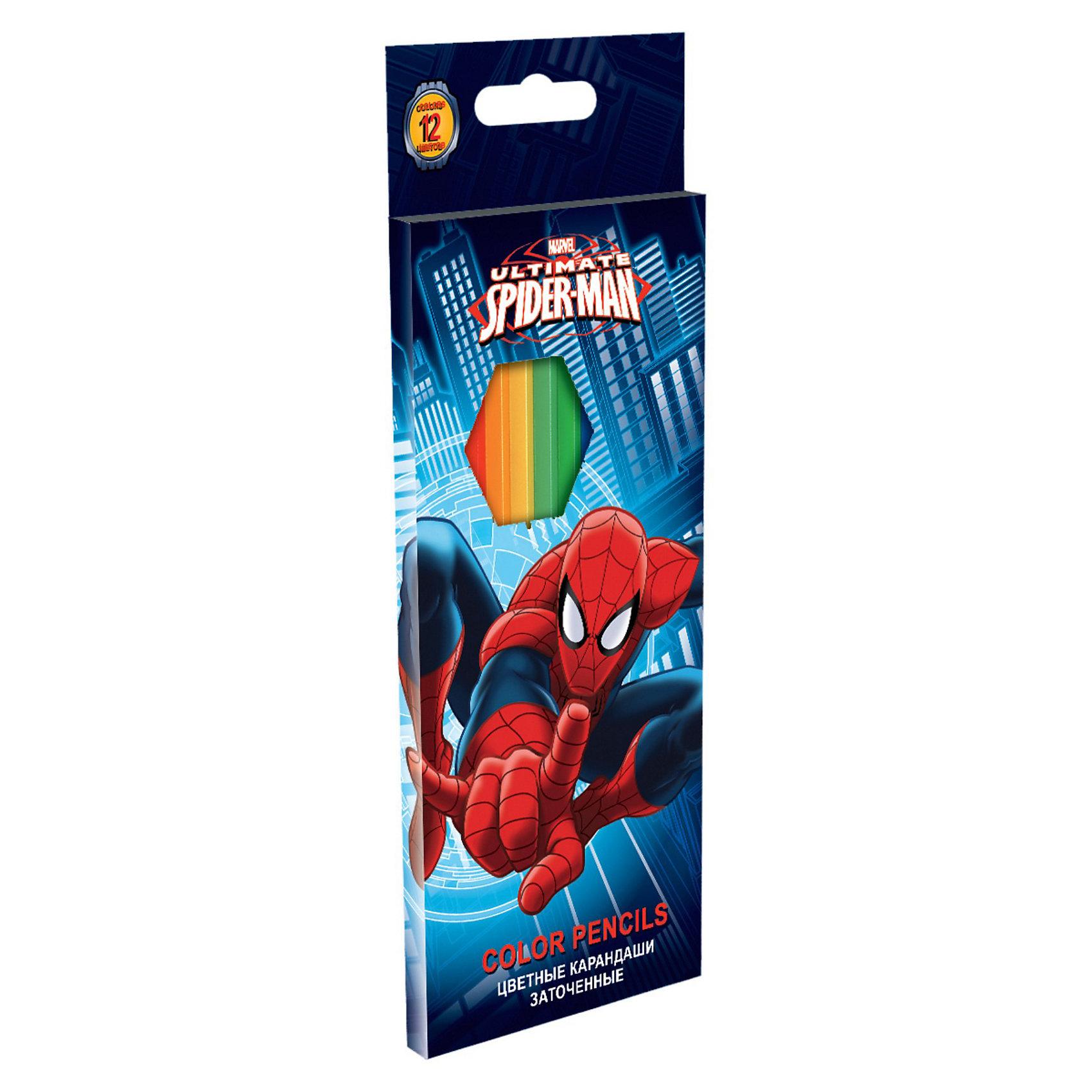 Цветные карандаши, 12 шт, Человек-ПаукНабор цветных карандашей (треугольные), 12 шт с изображением супергероя Чеовека-паука (Spider Man) станет прекрасным помощником Вашему  мальчику в школе!<br><br>Дополнительная информация:<br><br>- цветные карандаши длиной 17,8 см.<br>- заточенные; <br>- дерево - липа; <br>- цветной грифель 2,65 мм.<br><br>Станет прекрасным помощником любому школьнику!<br><br>Цветные карандаши, 12 шт, Человек-паук можно купить в нашем магазине.<br><br>Ширина мм: 215<br>Глубина мм: 90<br>Высота мм: 10<br>Вес г: 150<br>Возраст от месяцев: 48<br>Возраст до месяцев: 84<br>Пол: Мужской<br>Возраст: Детский<br>SKU: 3563008
