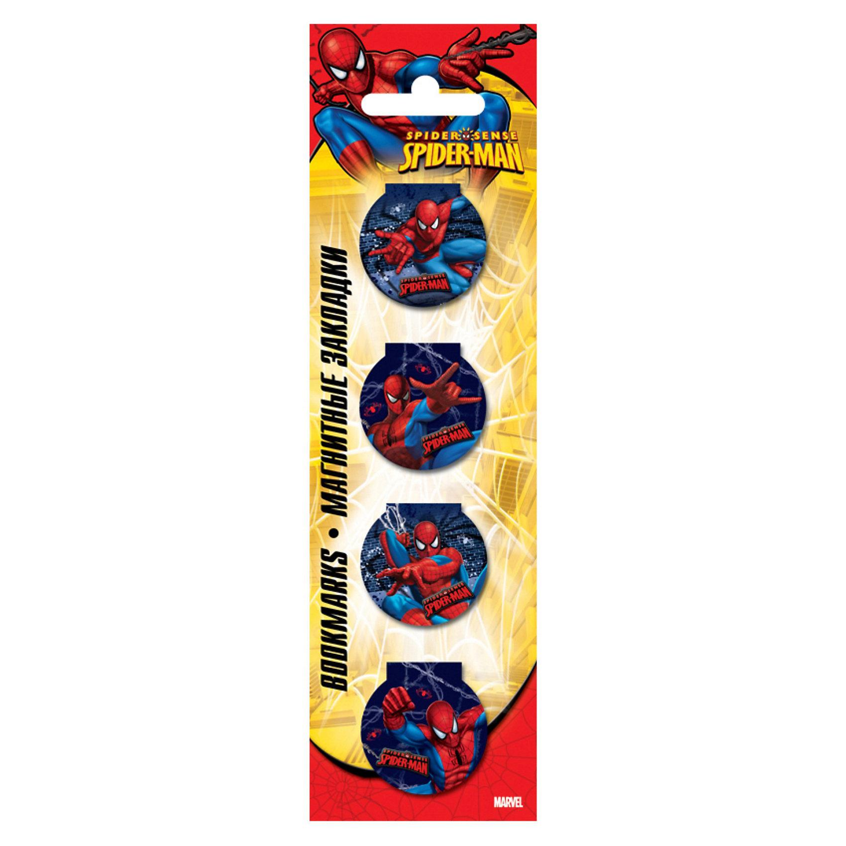 Закладки магнитные, Человек-ПаукМагнитная закладка Spider Man (Человек-паук) – это закладка, которая не выпадает, не мнет страницы книг и не вытаскивается в самый неподходящий момент. <br>Магнитная закладка надежно фиксируется на нужной странице с помощью винилового магнита, который размещается на внутренней стороне. <br>Это актуальный и практичный аксессуар для каждого любителя чтения.<br><br>Дополнительная информация:<br><br>- размер: 10 см.<br>- в наборе 6 штук.<br><br>Магнитную закладку Spider Man можно купить в нашем магазине.<br><br>Ширина мм: 200<br>Глубина мм: 160<br>Высота мм: 10<br>Вес г: 100<br>Возраст от месяцев: 48<br>Возраст до месяцев: 84<br>Пол: Мужской<br>Возраст: Детский<br>SKU: 3563012