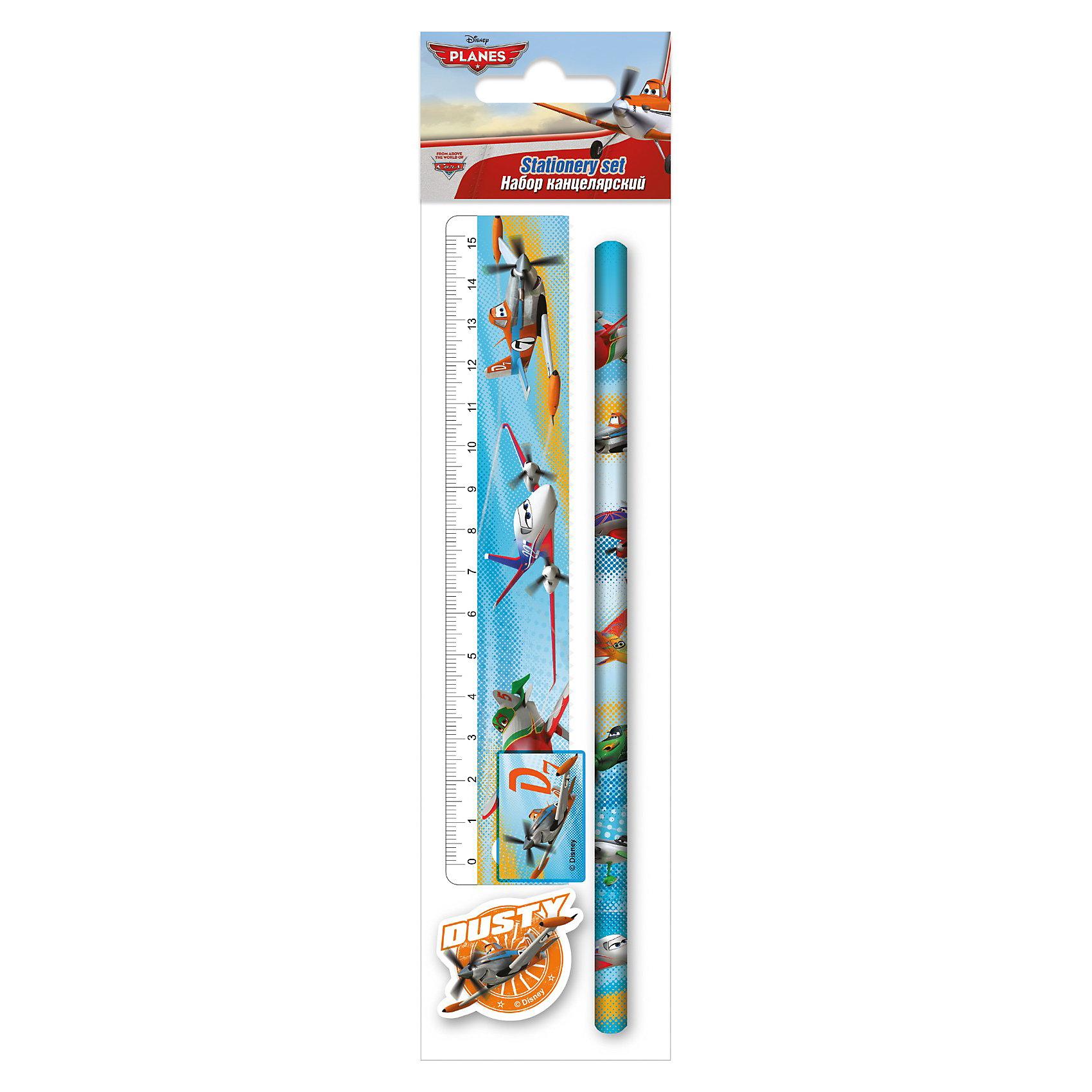 Набор канцелярский: линейка, карандаш, точилка, ластик , Самолеты