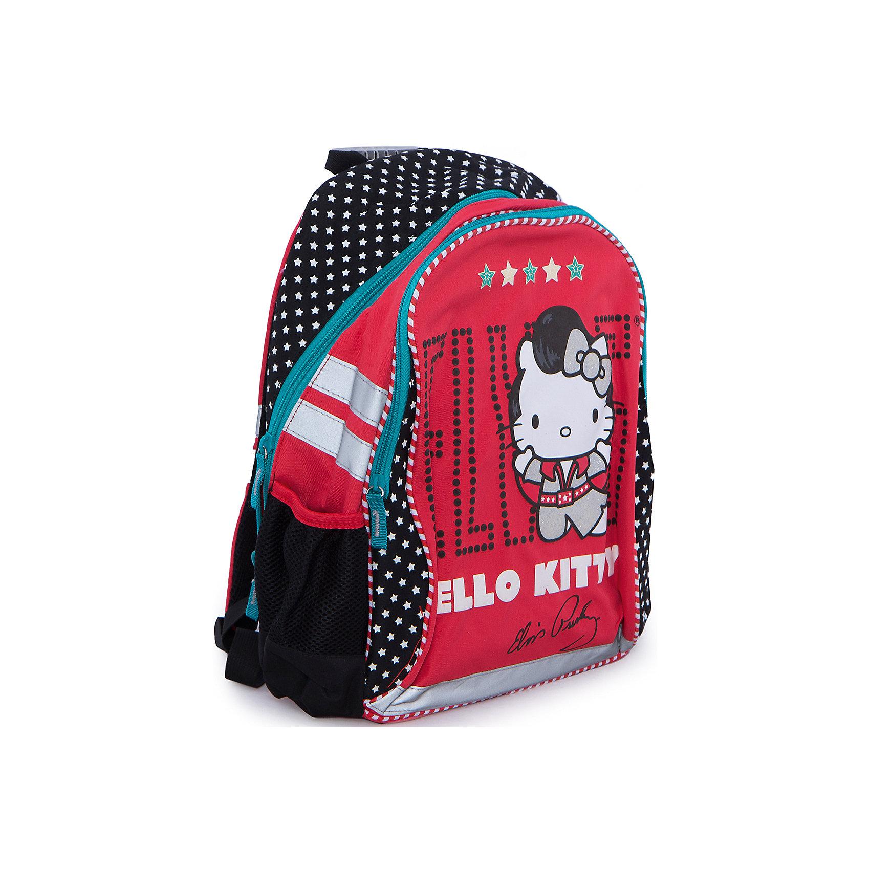 Рюкзак, мягкая спинка, Hello KittyСимпатичный рюкзак Hello Kitty Elvis (Хеллоу Китти Элвис) с мягкой спинкой - комфортный и стильный рюкзачок, который несомненно порадует маленькую школьницу.<br><br>Мягкая спинка рюкзака оснащена вентиляционной сеткой, застежки на молнии. Широкие лямки рюкзака регулируются по росту и размеру ребенка, имеется удобная ручка для переноски. Сбоку расположены карман для мелочей и отделение для бутылочки с водой, на лицевой стороне имеется большой жесткий карман на молнии. Для безопасности ребенка предусмотрены светоотражающие элементы. Рюкзак оформлен в стиле бренда Hello Kitty, серии Hello Kitty Elvis красного цвета с черной вставкой, лицевая сторона украшена изображением знаменитой белой кошечки. <br><br>Дополнительная информация:<br><br>- Материал: полиэстер.<br>- Размер: 39 х 31 х 12 см.<br>- Вес: 0,554 кг.<br><br>Рюкзак Hello Kitty можно купить в нашем интернет-магазине.<br><br>Ширина мм: 375<br>Глубина мм: 295<br>Высота мм: 105<br>Вес г: 554<br>Возраст от месяцев: 96<br>Возраст до месяцев: 108<br>Пол: Женский<br>Возраст: Детский<br>SKU: 3563121