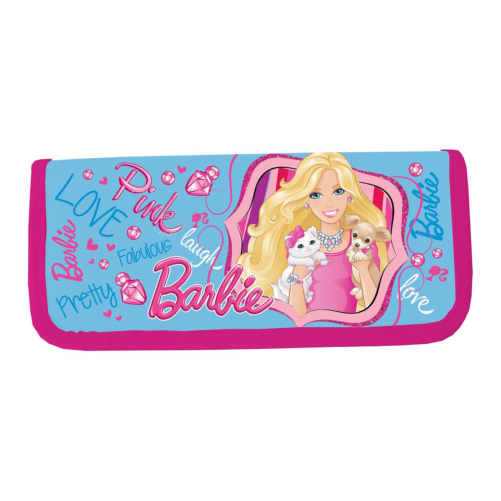 Пенал, BarbieBarbie<br>Пенал тканевый жесткий Барби (Barbie) станет стильным и практичным аксессуаром в рюкзаке маленькой школьницы. Голубой пенал прямоугольной формы оснащен креплениями для канцелярских принадлежностей, в нем поместятся все необходимые ручки, карандаши и фломастеры. Пенал украшен изображением куколки Барби со своей любимой собачкой.<br><br>Дополнительная информация:<br><br>- Размер: 20 х 9 х 3 см.<br>- Вес: 37 гр.<br><br>Пенал Barbie можно купить в нашем интернет-магазине.<br><br>Ширина мм: 200<br>Глубина мм: 90<br>Высота мм: 30<br>Вес г: 37<br>Возраст от месяцев: 96<br>Возраст до месяцев: 108<br>Пол: Женский<br>Возраст: Детский<br>SKU: 3563131