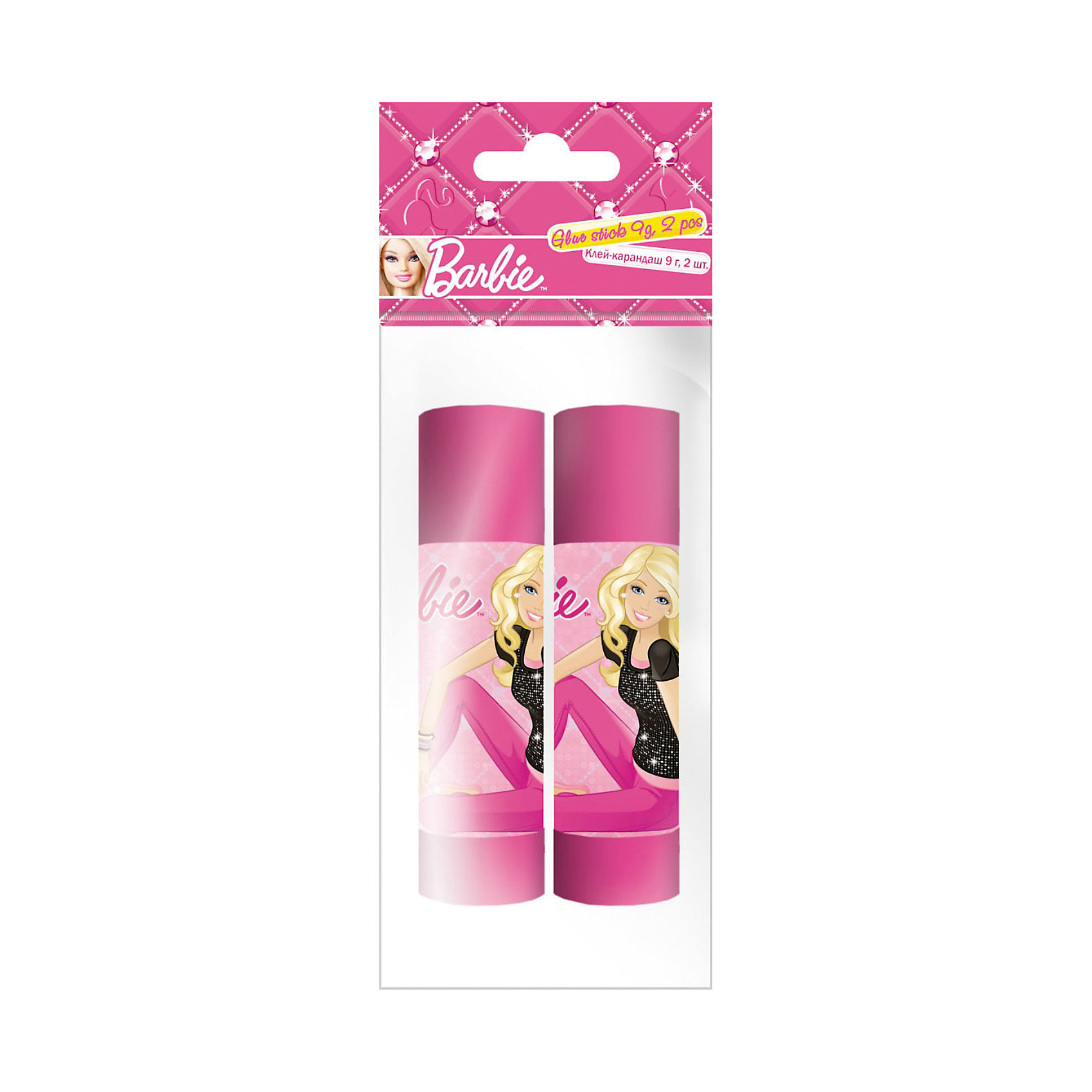Академия групп Клей-карандаши, 9 г, 2 шт, Barbie щетка туннельная dewal 2 х сторонняя пластиковый штифт 9 рядов 1108215