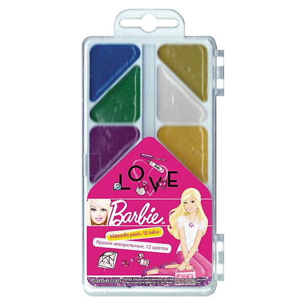 Краски акварельные (медовые), 12 цв, BarbieАкварель<br>Краски акварельные (медовые), 12 цв, Barbie (Барби) от Академия Групп. В наборе содержатся краски 12 цветов, которые хорошо ложатся на бумагу, быстро сохнут. Качественный и безопасный для здоровья набор красок в пластиковом прозрачном пенале порадует юных художниц яркими цветами нарисованных картин. В футляре имеется отделение для кисточки, кисть в набор не входит.<br><br>В качестве красящего элемента используются натуральные пигменты. Содержат медовые добавки. Легко смываются с рук и одежды.<br><br>Подарите Вашему ребенку праздник творчества!<br><br>Дополнительная информация:<br><br>- Упаковка: пластиковая коробка с прозрачной крышкой<br>- Размер упаковки: 18 х 8 х 1,2 см<br><br>Краски акварельные (медовые), 12 цв, Barbie (Барби) можно купить в нашем интернет-магазине.<br><br>Ширина мм: 180<br>Глубина мм: 80<br>Высота мм: 12<br>Вес г: 200<br>Возраст от месяцев: 96<br>Возраст до месяцев: 108<br>Пол: Женский<br>Возраст: Детский<br>SKU: 3563138
