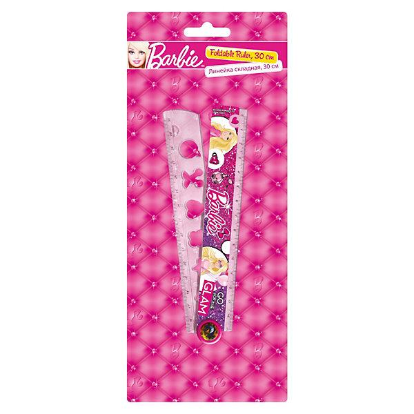 Линейка раскладная с трафаретом, 30 см, BarbieЧертежные принадлежности<br>Линейка раскладная с трафаретом, 30 см, Barbie (Барби) — необычная линейка, ведь она компактно складывается пополам и легко умещается в обычный пенал. При необходимости чертить на листах формата А4 такая линейка незаменима для школьников. В линейке вырублены трафареты простых и часто используемых фигур: квадрат, круг, треугольник, звездочка, ромбик. На линейку нанесено изображение с помощью метода термопереноса, а значит картинка не подвержена потертостям и сколам.<br> <br>Порадуйте юную поклонницу Барби прекрасным подарком!<br><br>Дополнительная информация:<br><br>- Материал: пластик<br>- Размер упаковки: 23,5 х 9,5 х 0,5 см<br>- Вес: 40 г.<br><br>Линейка раскладная с трафаретом, 30 см, Barbie (Барби) можно купить в нашем интернет-магазине.<br><br>Ширина мм: 235<br>Глубина мм: 95<br>Высота мм: 5<br>Вес г: 37<br>Возраст от месяцев: 96<br>Возраст до месяцев: 108<br>Пол: Женский<br>Возраст: Детский<br>SKU: 3563140