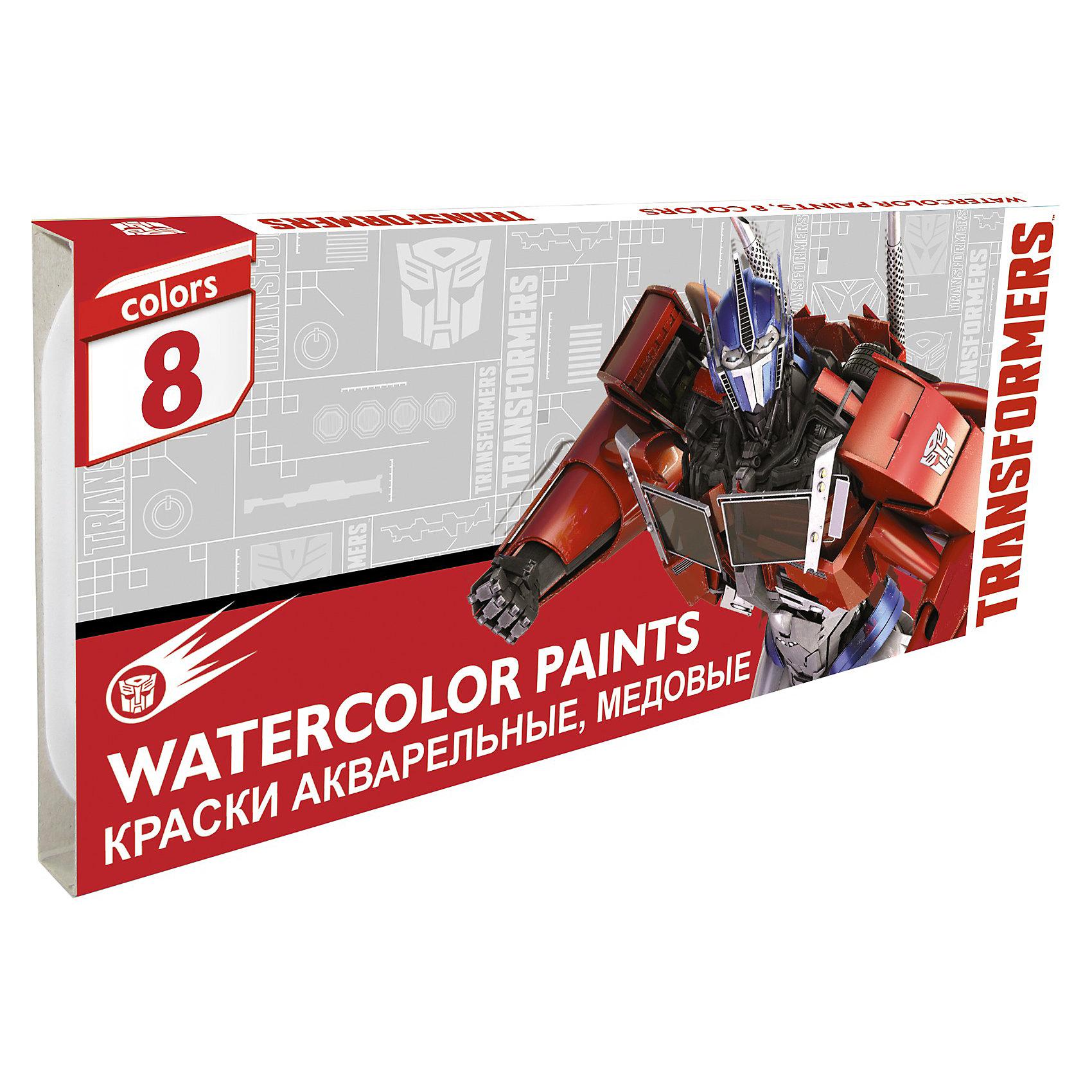 Краски акварельные (медовые, 8 цветов), ТрансформерыАкварельные краски Transformers (Трансформеры) хорошо подойдут как для школьных занятий так и для детского творчества в свободное время. В наборе 8 акварельных медовых красок, упакованных в коробочку с изображением персонажей популярного мультсериала Трансформеры.<br><br>Дополнительная информация:<br><br>- Размер упаковки: 12 х 7,5 х 1 см.<br>- Вес: 35 гр.<br><br>Краски акварельные (медовые), 8 шт. Transformers можно купить в нашем интернет-магазине.<br><br>Ширина мм: 120<br>Глубина мм: 75<br>Высота мм: 10<br>Вес г: 160<br>Возраст от месяцев: 96<br>Возраст до месяцев: 108<br>Пол: Мужской<br>Возраст: Детский<br>SKU: 3563175