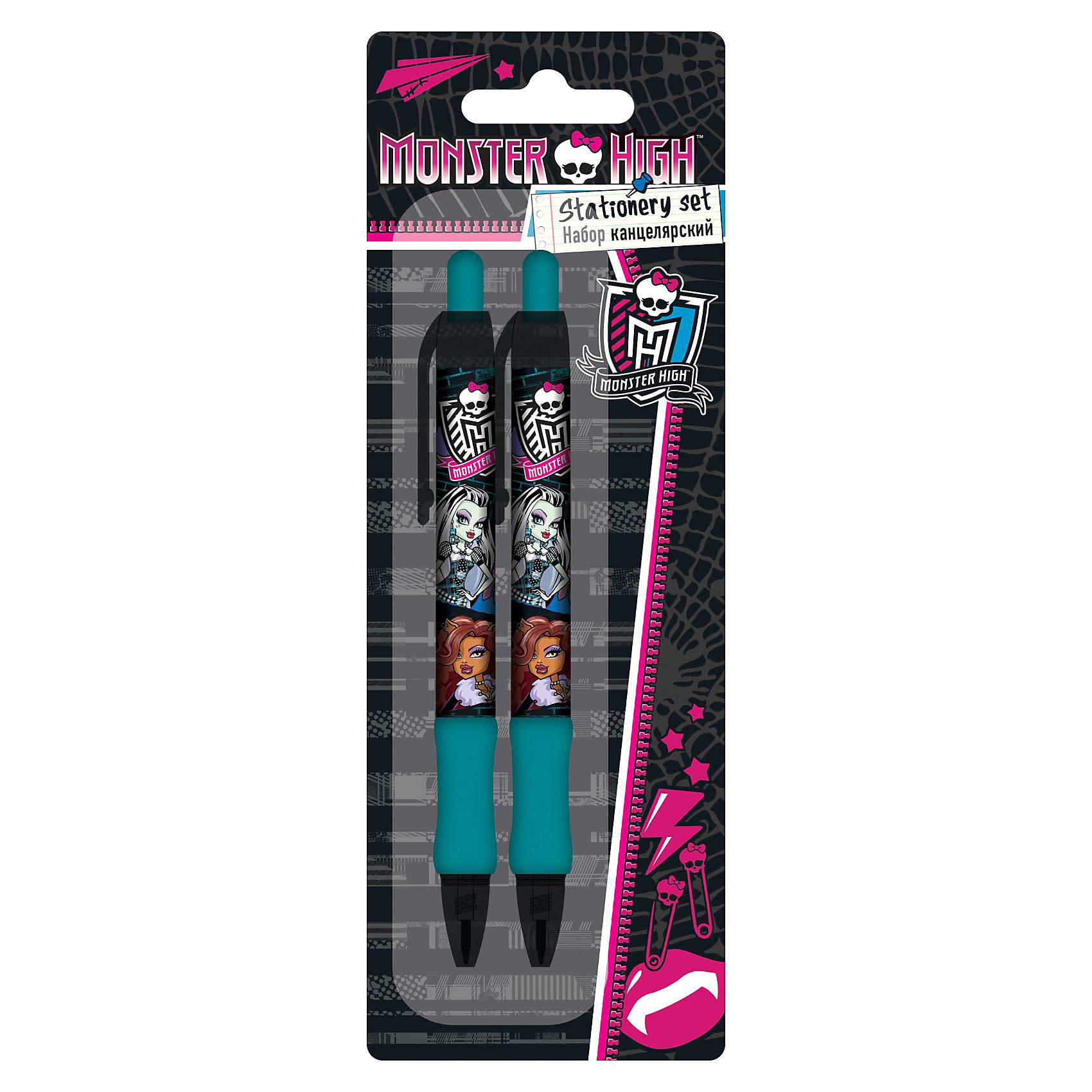 Набор: ручка синяя, карандаш механический, Monster HighКанцелярский набор Monster High ( Школа Монстров) порадует маленькую школьницу и сделает ее занятия еще увлекательнее. В комплект входят шариковая ручка и механический карандаш. Ручка и карандаш имеют резиновое покрытие в нижней части, что значительно повышает удобство их использования. Увеличенный диаметр ручки и карандаша снижает утомляемость руки ребенка при письме и рисовании. Набор выполнен в оригинальном дизайне, в виде принта используется герои из всеми любимого мультсериала Monster High<br><br>Дополнительная информация:<br><br>- Размер упаковки: 22,5 х 8 х 1,5 см.<br>- Вес: 37 гр.<br><br>Канцелярский набор Monster High можно купить в нашем интернет-магазине.<br><br>Ширина мм: 225<br>Глубина мм: 80<br>Высота мм: 15<br>Вес г: 37<br>Возраст от месяцев: 120<br>Возраст до месяцев: 144<br>Пол: Женский<br>Возраст: Детский<br>SKU: 3563212