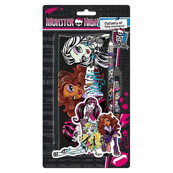 Набор: пенал, карандаш ч/г с ластиком, ручка, Monster HighMonster High Товары для школы<br>Канцелярский набор Monster High (Школа Монстров) в блистере порадует маленькую школьницу оригинальным дизайном в стиле популярного мультсериала Школа Монстров. В комплект входят пенал, чернографитный карандаш с ластиком и автоматическая ручка. <br><br>Пенал изготовлен из высококачественного материла, благодаря которому он прослужит долго, застегивается на молнию, имеет вместительное отделение, в котором поместятся все необходимые принадлежности для учебы. Все принадлежности набора декорированы изображениями героинь Школы монстров.<br><br>Дополнительная информация:<br><br>- В комплекте: пенал, ч/г карандаш с ластиком, ручка автоматическая.<br>- Материал: ПВХ, пластик.<br>- Размер: 25,5 х 12,5 х 2 см.<br>- Вес: 67 гр.<br><br>Канцелярский набор Monster High можно купить в нашем интернет-магазине.<br><br>Ширина мм: 255<br>Глубина мм: 125<br>Высота мм: 20<br>Вес г: 67<br>Возраст от месяцев: 120<br>Возраст до месяцев: 144<br>Пол: Женский<br>Возраст: Детский<br>SKU: 3563217