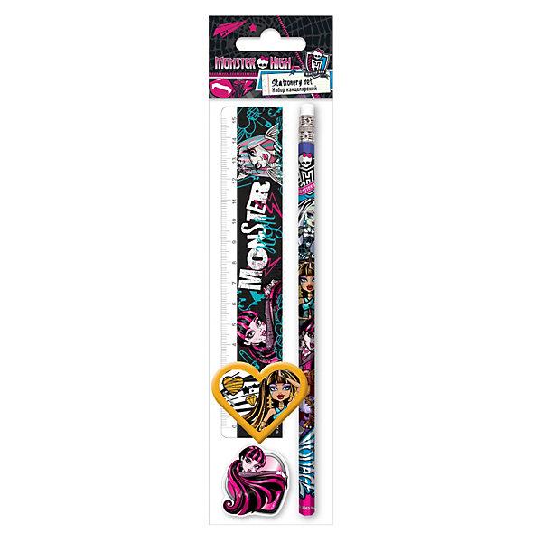 Набор: линейка, карандаш, точилка, ластик, Monster HighMonster High<br>Канцелярский набор Monster High (Школа Монстров) в ПП пакете с подвесом порадует маленькую школьницу оригинальным дизайном в стиле популярного мультсериала Школа Монстров. В комплект входят прозрачная линейка, карандаш, точилка, фигурный ластик. Набор выполнен в оригинальном дизайне, в виде принта используется герои из всеми любимого мультфильма Monster High.<br><br>Дополнительная информация:<br><br>- В комплекте: линейка прозрачная 15 см, карандаш, точилка малая, ластик фигурный.<br>- Размер: 23 х 5,2 х 1,5 см.<br>- Вес: 35 гр.<br><br>Канцелярский набор Monster High можно купить в нашем интернет-магазине.<br><br>Ширина мм: 230<br>Глубина мм: 52<br>Высота мм: 15<br>Вес г: 35<br>Возраст от месяцев: 120<br>Возраст до месяцев: 144<br>Пол: Женский<br>Возраст: Детский<br>SKU: 3563218