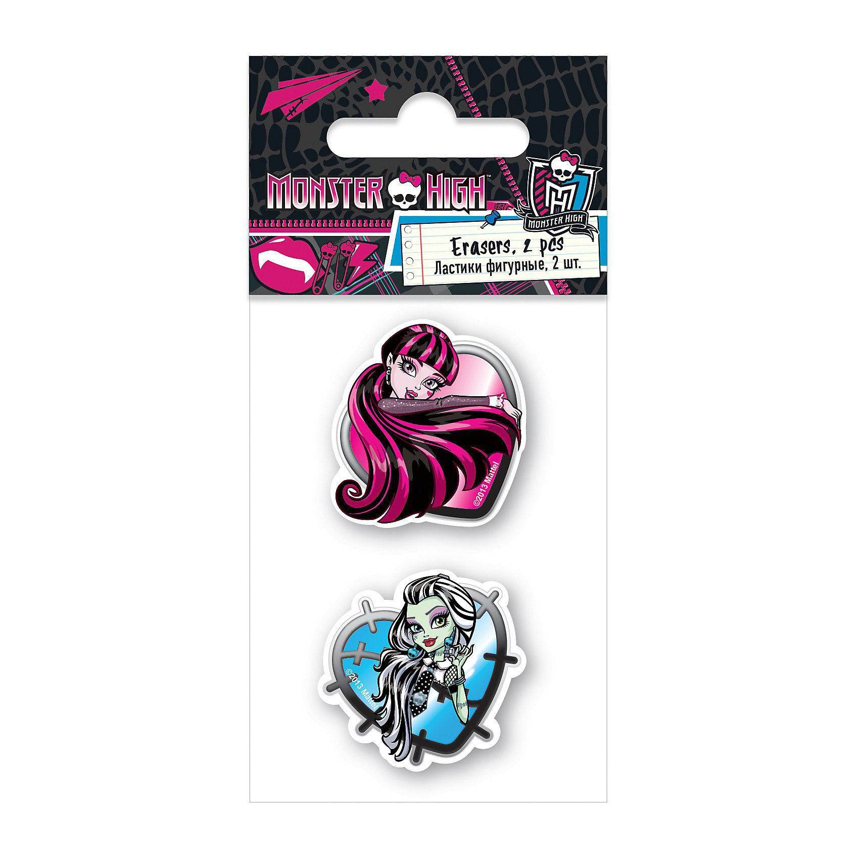 Ластики, 2 шт, Monster HighНабор из двух ластиков Monster High (Школа Монстров) станет замечательным дополнением к другим канцелярским принадлежностям бренда Monster High. Ластики выполнены в оригинальном дизайне с изображениями героинь мультсериала Школа монстров.<br><br>Дополнительная информация:<br><br>- Размер упаковки: 1 х 7 х 4 см.<br>- Вес: 30 гр.<br><br>Ластики Monster High можно купить в нашем интернет-магазине.<br><br>Ширина мм: 130<br>Глубина мм: 60<br>Высота мм: 10<br>Вес г: 30<br>Возраст от месяцев: 120<br>Возраст до месяцев: 144<br>Пол: Женский<br>Возраст: Детский<br>SKU: 3563223