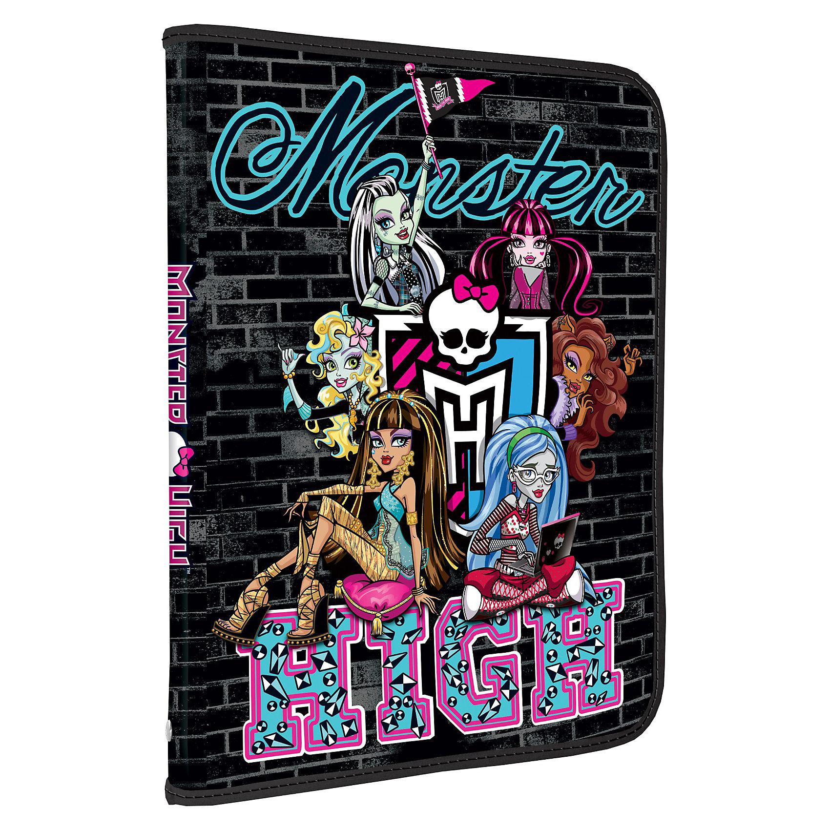 Папка для тетрадей на молнии, Monster HighMonster High<br>Папка для тетрадей на молнии, Monster High (Монстр Хай) – полезное приобретение для девочки-школьницы, любительницы сериала Monster High.<br>Пластиковая папка для тетрадей с изображением героинь мультфильма Monster High. Стильная и модная папка позволит выделиться вашей дочке среди одноклассников. Папка закрывается с трех сторон на молнию.<br><br>Дополнительная информация:<br><br>- Размер: 228x377 мм<br>- Материал: пластик 0,5мм.<br><br>Папку для тетрадей на молнии, Monster High (Монстр Хай) можно купить в нашем интернет-магазине.<br><br>Ширина мм: 228<br>Глубина мм: 377<br>Высота мм: 10<br>Вес г: 580<br>Возраст от месяцев: 120<br>Возраст до месяцев: 144<br>Пол: Женский<br>Возраст: Детский<br>SKU: 3563232