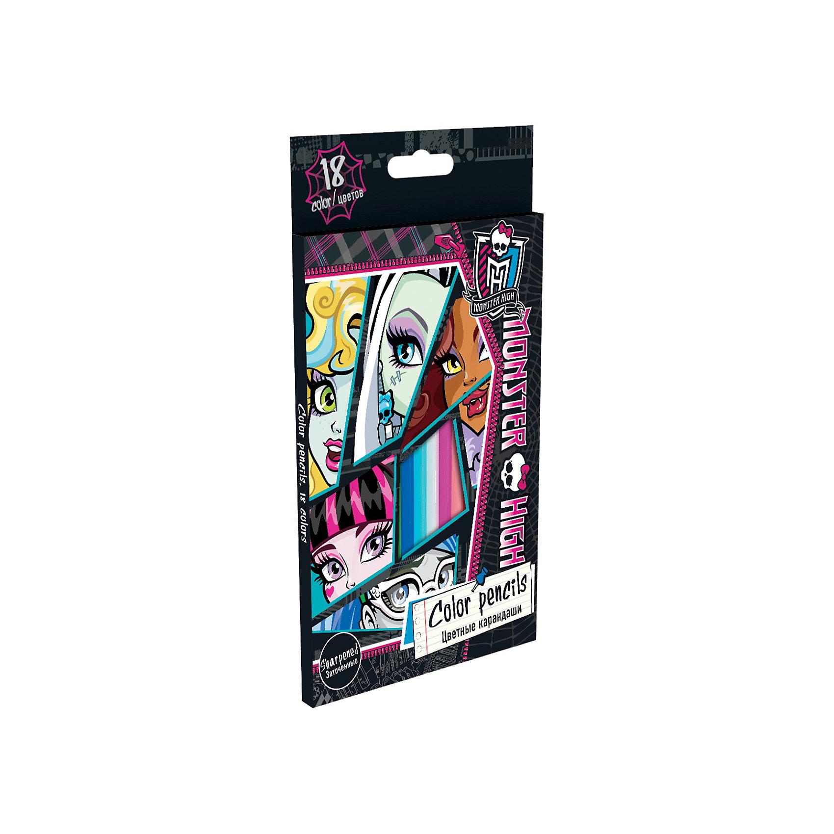 Цветные карандаши, 18 шт, Monster HighMonster High<br>Цветные карандаши, 18 шт, Monster High (Монстр Хай) - замечательный подарок для начинающих девочек-художников!<br>Яркие, насыщенные цвета карандашей Monster High помогут вашей доченьке передать свои фантазии и идеи на бумаге. Карандаши имеют шестигранную форму, что очень удобно при использовании.<br><br>Дополнительная информация:<br><br>- Карандашей в наборе: 18штук<br>- Длина карандаша: 17,8 см.<br>- Прочный цветной грифель: диаметр 3 мм.<br>- Размер в упаковке: 215х50х10 мм.<br>- Материал корпуса: дерево липа<br><br>Цветные карандаши, 18 шт, Monster High (Монстр Хай) можно купить в нашем интернет-магазине.<br><br>Ширина мм: 215<br>Глубина мм: 130<br>Высота мм: 10<br>Вес г: 100<br>Возраст от месяцев: 120<br>Возраст до месяцев: 144<br>Пол: Женский<br>Возраст: Детский<br>SKU: 3563242