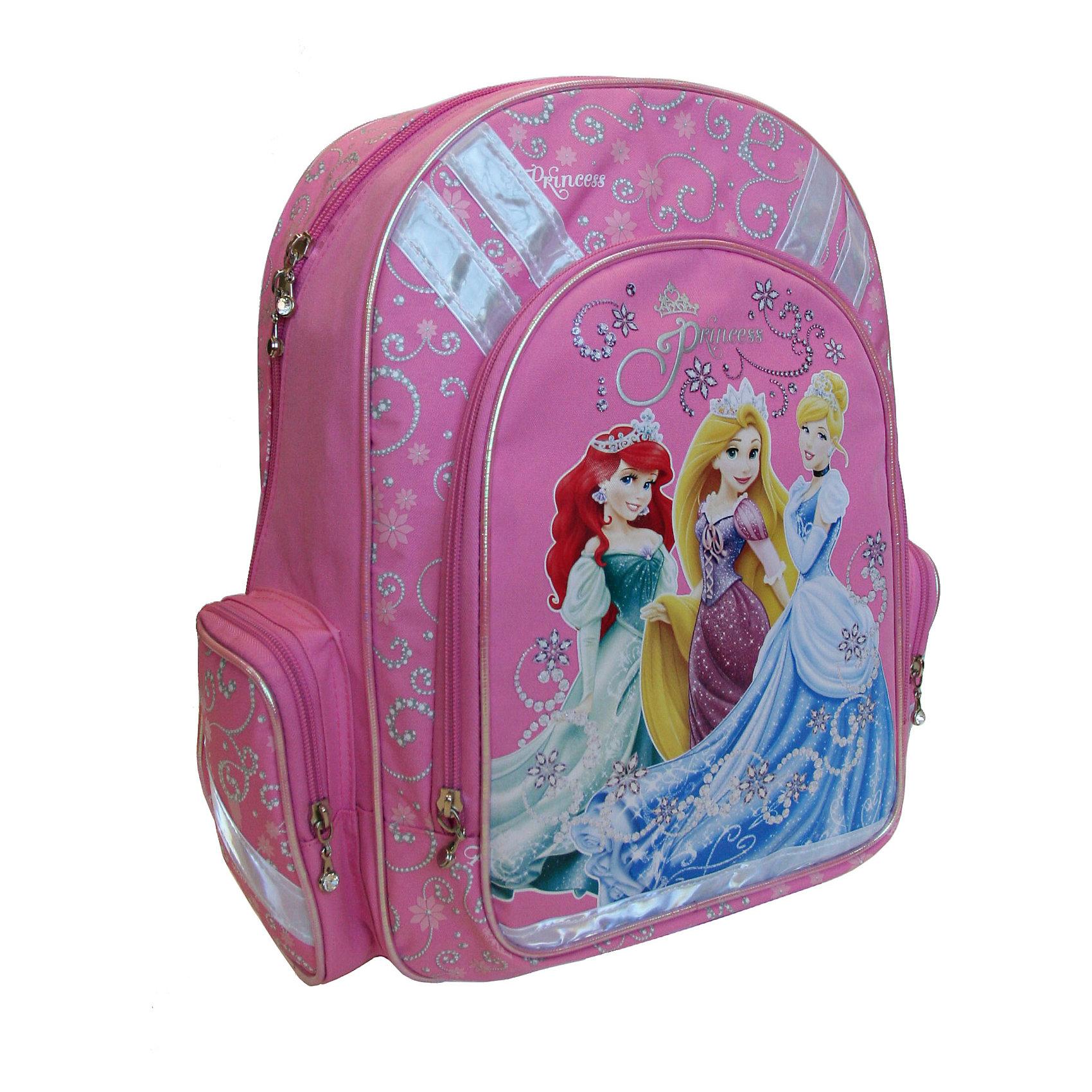 Рюкзак с эргономичной EVA-спинкой, Принцессы ДиснейРюкзак с эргономичной EVA-спинкой, Disney Princess (Принцессы Диснея) - это максимально удобный и функциональный рюкзак.<br>Спинка рюкзака Disney Princess сделана из высокотехнологичного водонепроницаемого упругого материала (EVA), анатомически расположенные поролоновые вставки и специальная сетка для воздухообмена обеспечивают максимальный комфорт. Увеличенная ширина лямок позволяет снизить нагрузку на надплечье. Регулируемая длина гарантирует, что рюкзак подойдет ребенку любого роста. Высокотехнологичный водонепроницаемый упругий материал, поролон и специальная сетка для воздухообмена обеспечивают максимальный комфорт. Удобная ручка позволяет переносить рюкзак в руках. Светоотражающие элементы на лямках и корпусе рюкзака делают ребенка более заметным для водителей, и повышают безопасность ребенка на дороге. Карманы: вместительный наружный карман на молнии предназначен для предметов средних и крупных размеров, два боковых кармана на молнии предназначены для предметов мелких размеров. Основной отдел на молнии имеет 3 отделения и может размещать изделия размером до А4 формата включительно, без сложений. Дно укреплено пластиковой вставкой-трансформером, что позволяет быстро и удобно изменять размеры рюкзака. Изготовлен рюкзак из износостойкого и влагоизоляционного материала.<br><br>Дополнительная информация:<br><br>- Материал: полиэстер<br>- Размер: 38х29х13 см.<br>- Вес: 735 гр.<br><br>Рюкзак с эргономичной EVA-спинкой, Disney Princess можно купить в нашем интернет-магазине.<br><br>Ширина мм: 380<br>Глубина мм: 290<br>Высота мм: 130<br>Вес г: 735<br>Возраст от месяцев: 48<br>Возраст до месяцев: 84<br>Пол: Женский<br>Возраст: Детский<br>SKU: 3563275