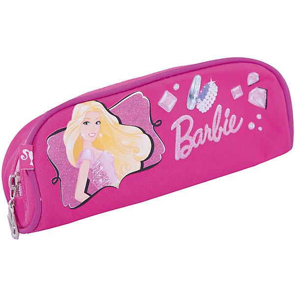 Пенал, BarbieПеналы без наполнения<br>Пенал Barbie (Барби) - это та вещь, благодаря которой ребенок всегда сможет содержать в порядке предметы школьной канцелярии. Стильная розовая косметичка обязательно понравится Вашей дочери, ведь на пенале изображена любимая девочками модница  Barbie (Барби). Пенал легкий не занимает много места в портфеле, однако в него вмещается много необходимых вещей.<br><br>Дополнительная информация: <br><br>- Пенал сделан в форме косметички на молнии;<br>- Материалом изделия является прочный текстиль;<br>- Устойчивость пеналу придают уплотненные швы, проходящие по верхнему изгибу;<br>- В качестве замка используется широкая молния;<br>- Внутри имеется большое отделение для ручек и других канцелярских принадлежностей;<br>- Размер: 7 х 21 х 7 см;<br>- Материал: полиэстер;<br>- Вес: 75 г.<br><br>Пенал Barbie (Барби) можно купить в нашем интернет-магазине.<br><br>Ширина мм: 250<br>Глубина мм: 200<br>Высота мм: 30<br>Вес г: 300<br>Возраст от месяцев: 96<br>Возраст до месяцев: 108<br>Пол: Женский<br>Возраст: Детский<br>SKU: 3563305