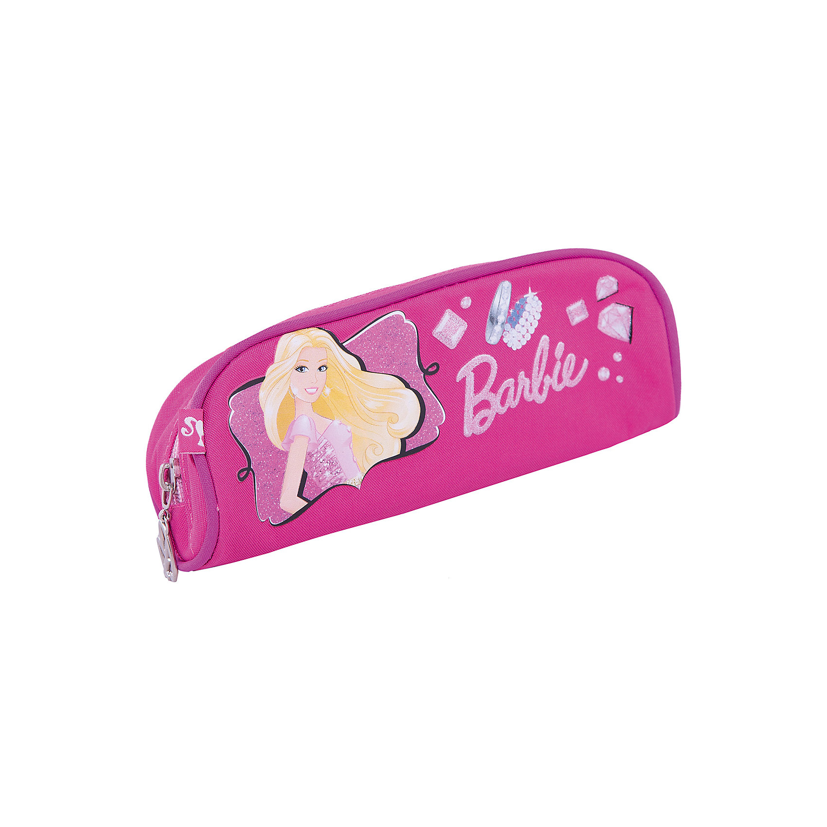 Пенал, BarbieBarbie<br>Пенал Barbie (Барби) - это та вещь, благодаря которой ребенок всегда сможет содержать в порядке предметы школьной канцелярии. Стильная розовая косметичка обязательно понравится Вашей дочери, ведь на пенале изображена любимая девочками модница  Barbie (Барби). Пенал легкий не занимает много места в портфеле, однако в него вмещается много необходимых вещей.<br><br>Дополнительная информация: <br><br>- Пенал сделан в форме косметички на молнии;<br>- Материалом изделия является прочный текстиль;<br>- Устойчивость пеналу придают уплотненные швы, проходящие по верхнему изгибу;<br>- В качестве замка используется широкая молния;<br>- Внутри имеется большое отделение для ручек и других канцелярских принадлежностей;<br>- Размер: 7 х 21 х 7 см;<br>- Материал: полиэстер;<br>- Вес: 75 г.<br><br>Пенал Barbie (Барби) можно купить в нашем интернет-магазине.<br><br>Ширина мм: 250<br>Глубина мм: 200<br>Высота мм: 30<br>Вес г: 300<br>Возраст от месяцев: 96<br>Возраст до месяцев: 108<br>Пол: Женский<br>Возраст: Детский<br>SKU: 3563305