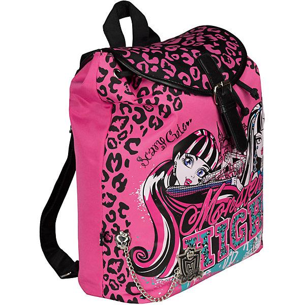 Рюкзак, Monster HighMonster High<br>Рюкзак Monster High (Школа Монстров) комфортный и красивый рюкзак для школы и занятий спортом, который наверняка порадует маленькую школьницу. Рюкзак выполнен в оригинальном дизайне, в виде принта используются героини из всеми любимого мультфильма Школа монстров.<br><br>Рюкзак изготовлен из износостойкой легкомоющейся ткани, сверху затягивается веревкой (как котомка), а затем закрывается клапаном на магнитной застежке. Внутри рюкзака имеется одно большое отделение с внутренним маленьким карманом, а также еще один карман на молнии. Плечевые лямки рюкзака регулируются по длине.<br><br>Дополнительная информация:<br><br>- Материал: полиэстер. <br>- Размер: 36 х 30 х 14 см <br>- Вес: 0,470 кг.  <br><br>Рюкзак Monster High можно купить в нашем интернет-магазине.<br><br>Ширина мм: 360<br>Глубина мм: 300<br>Высота мм: 140<br>Вес г: 470<br>Возраст от месяцев: 120<br>Возраст до месяцев: 144<br>Пол: Женский<br>Возраст: Детский<br>SKU: 3563308
