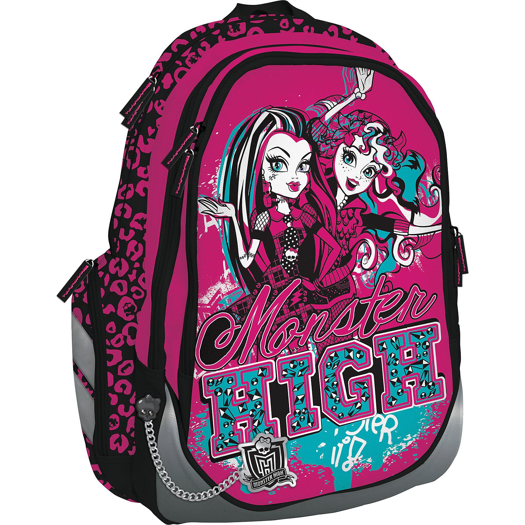 Школьный рюкзак, Monster HighРюкзак Monster High (Школа монстров) создан специально для девочек, он выполнен в оригинальном дизайне, а в виде принта используются героини из всеми любимого мультфильма «Школа монстров». Рюкзак очень вместительный и удобный в использовании, имеет мягкую уплотненную спинку, которая значительно снижает нагрузку на спину ребенка.<br><br>Внутри рюкзака имеются два отделения, закрывающиеся на молнию. Основное большое отделение разделено перегородкой на 2 части. Также в этом отделении имеется карман на молнии. Дополнительное отделение разделений не имеет. На лицевой части рюкзака находится большой наружный карман, внутри которого есть один большой карман, 3 маленьких (один из которых на молнии), а также органайзер для письменных принадлежностей. По бокам рюкзака есть два дополнительных небольших кармашка на молнии.<br><br>Плечевые лямки рюкзака регулируются по длине и росту ребенка. Кроме того имеется дополнительная ручка для переноски рюкзака в руке. С обеих сторон на рюкзаке имеются светоотражающие элементы: светоотражающая полоска снизу лицевого кармана, по одной полоске по бокам, а также светоотражающие полоски на плечевых лямках рюкзака. <br><br>Дополнительная информация:<br><br>- Материал: полиэстер.<br>- Размер: 40 х 30 х 14,5 см.<br><br>Рюкзак Monster High можно купить в нашем интернет-магазине.<br><br>Ширина мм: 440<br>Глубина мм: 300<br>Высота мм: 145<br>Вес г: 800<br>Возраст от месяцев: 120<br>Возраст до месяцев: 144<br>Пол: Женский<br>Возраст: Детский<br>SKU: 3563310