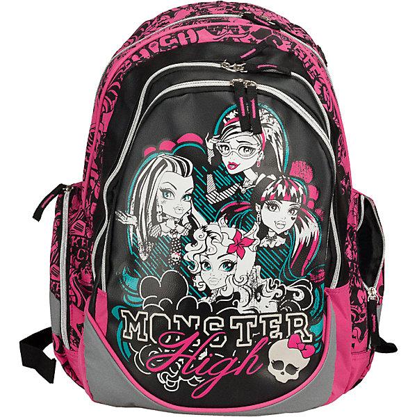 Школьный рюкзак, Monster HighШкольные рюкзаки<br>Рюкзак Monster High (Школа Монстров) комфортный и красивый рюкзак для школы и занятий спортом, который наверняка порадует маленькую школьницу. Рюкзак выполнен в оригинальном дизайне, в виде принта используются героини из всеми любимого мультфильма Школа монстров. Спинка рюкзака - поролон с вентиляционной сеткой.<br><br>Внутри два основных отделения, отделение для ноутбука, карманы для канцелярских принадлежностей. Плечевые лямки рюкзака регулируются по длине и росту ребенка. Кроме того имеется дополнительная ручка для переноски рюкзака в руке.<br><br>Дополнительная информация:<br><br>- Материал: полиэстер.<br>- Размер: 44 х 30 х 14,5 см.<br><br>Рюкзак Monster High можно купить в нашем интернет-магазине.<br><br>Ширина мм: 440<br>Глубина мм: 300<br>Высота мм: 145<br>Вес г: 800<br>Возраст от месяцев: 72<br>Возраст до месяцев: 144<br>Пол: Женский<br>Возраст: Детский<br>SKU: 3563311