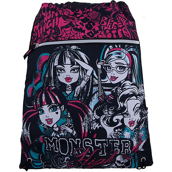 Сумка-рюкзак для обуви, Monster HighМешки для обуви<br>Сумка-рюкзак для обуви Monster High (Школа Монстров) идеально подойдет для сменной обуви маленькой школьницы и для физкультурной формы. <br>Рюкзачок выполнен из прочной непромокаемой ткани, по бокам затягивается специальными шнурками, выполняющими одновременно роль лямок рюкзака. Имеется дополнительный карман на молнии. Рюкзак оформлен в стиле популярного мультсериала Школа монстров и украшен изображениями его героинь.<br><br>Дополнительная информация:<br><br>- Материал: полиэстер.<br>- Размер: 43 х 34 см.<br>- Вес: 0,166 кг. <br><br>Сумку-рюкзак для обуви Monster High можно купить в нашем интернет-магазине.<br>Ширина мм: 20; Глубина мм: 400; Высота мм: 340; Вес г: 166; Возраст от месяцев: 120; Возраст до месяцев: 144; Пол: Женский; Возраст: Детский; SKU: 3563319;