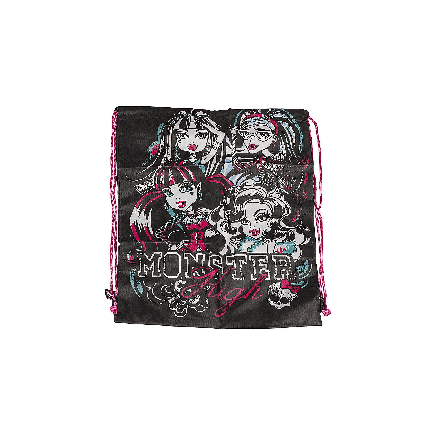 Сумка-рюкзак для обуви, Monster HighMonster High<br>Забудьте о неудобных пакетах для сменной или спортивной обуви! Незаменимый аксессуар для школьника: Сумка-рюкзак для обуви,  Monster High ( Монстер Хай)! Сумка для обуви с дополнительным карманом черная Monster High ( Монстер Хай) - это стильный аксессуар современного школьника. Ваша девочка наверняка захочет положить в этот небольшой мешочек-рюкзак свои кроссовки или кеды. <br><br>Дополнительная информация: <br><br>- Сумка для обуви черная  Monster High ( Монстер Хай) выполнена в стиле мультфильма Школа Монстров;<br>- Сумка затягивается на шнурок, который используется в качестве лямок;<br>- Мешок для обуви сделан из плотного материала;<br>- Размер: 43 х 34 см;<br>- Материал: полиэстер;<br>- Вес: 71 г.<br><br>Сумку-рюкзак для обуви Monster High ( Монстер Хай) можно купить в нашем интернет-магазине.<br><br>Ширина мм: 20<br>Глубина мм: 400<br>Высота мм: 340<br>Вес г: 710<br>Возраст от месяцев: 120<br>Возраст до месяцев: 144<br>Пол: Женский<br>Возраст: Детский<br>SKU: 3563320