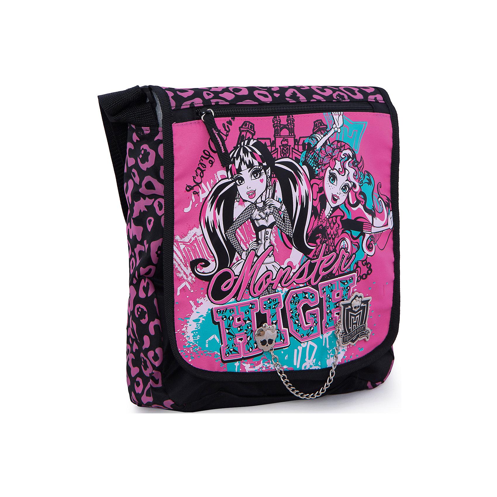 Сумка, Monster HighШкольные сумки<br>Стильная и практичная сумка Monster High (Школа Монстров) идеально подойдет как для дошкольниц, так и для девочек постарше, с ней удобно путешествовать и отправляться на длительные прогулки. В симпатичную сумку можно положить все самое необходимое, внутри одно вместительное отделение и карман на молнии. Кроме того дополнительно имеется большой карман на молнии на лицевой стороне и большой карман на липучке на тыльной стороне сумки. Сумка закрывается на клапан с застежкой липучка.<br><br>Плечевой ремешок регулируется по размеру. Сумка выполнена в розово-черная расцветке с изображением героинь популярного мультсериала Школа монстров.<br><br>Дополнительная информация:<br><br>- Материал: текстиль.<br>- Размер: 33 х 26 х 9 см.<br><br>Сумку Monster High можно купить в нашем интернет-магазине.<br><br>Ширина мм: 330<br>Глубина мм: 260<br>Высота мм: 90<br>Вес г: 500<br>Возраст от месяцев: 120<br>Возраст до месяцев: 144<br>Пол: Женский<br>Возраст: Детский<br>SKU: 3563323