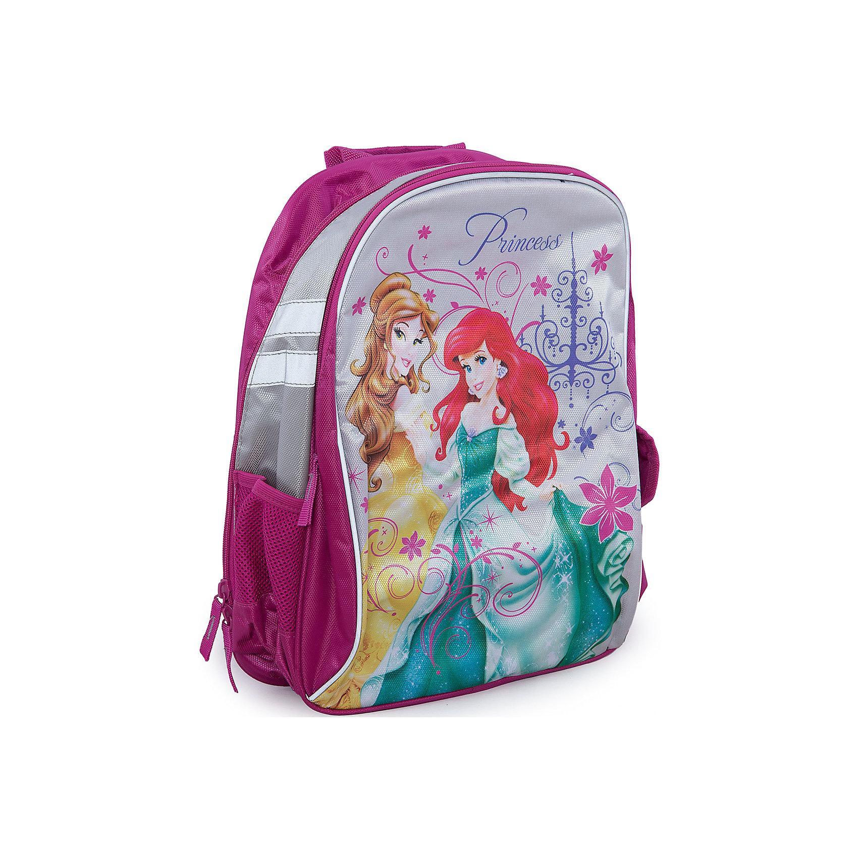 Школьный рюкзак с мягкой спинкой, Принцессы ДиснейПринцессы Дисней<br>Рюкзак Disney Princess (Принцессы Диснея) - комфортный и красивый рюкзак для школы и занятий спортом, который наверняка порадует маленькую школьницу. Рюкзак имеет мягкую спинку с вентиляционной сеткой. Внутри одно просторное отделение для книг и тетрадей, также имеются одно фронтальное отделение на молнии и два боковых кармашка: один - пенального типа на кнопке и второй с сеточкой и утягивающей резинкой.<br><br>Лямки рюкзака регулируются в зависимости от возраста и роста ребенка, имеется тряпичная ручка для переноски в руках.<br><br>Рюкзак выполнен из качественных материалов и украшен принтом с принцессами из диснеевских мультфильмов, оснащен светоотражающими элементами для безопасного передвижения ребенка в темное время<br><br>Дополнительная информация:<br><br>- Материал: полиэстер.<br>- Размер: 39 х 31 х 12 см. <br>- Вес: 0,554 кг.<br><br>Рюкзак с мягкой спинкой Disney Princess можно купить в нашем интернет-магазине.<br><br>Ширина мм: 390<br>Глубина мм: 310<br>Высота мм: 120<br>Вес г: 554<br>Возраст от месяцев: 72<br>Возраст до месяцев: 84<br>Пол: Женский<br>Возраст: Детский<br>SKU: 3563350