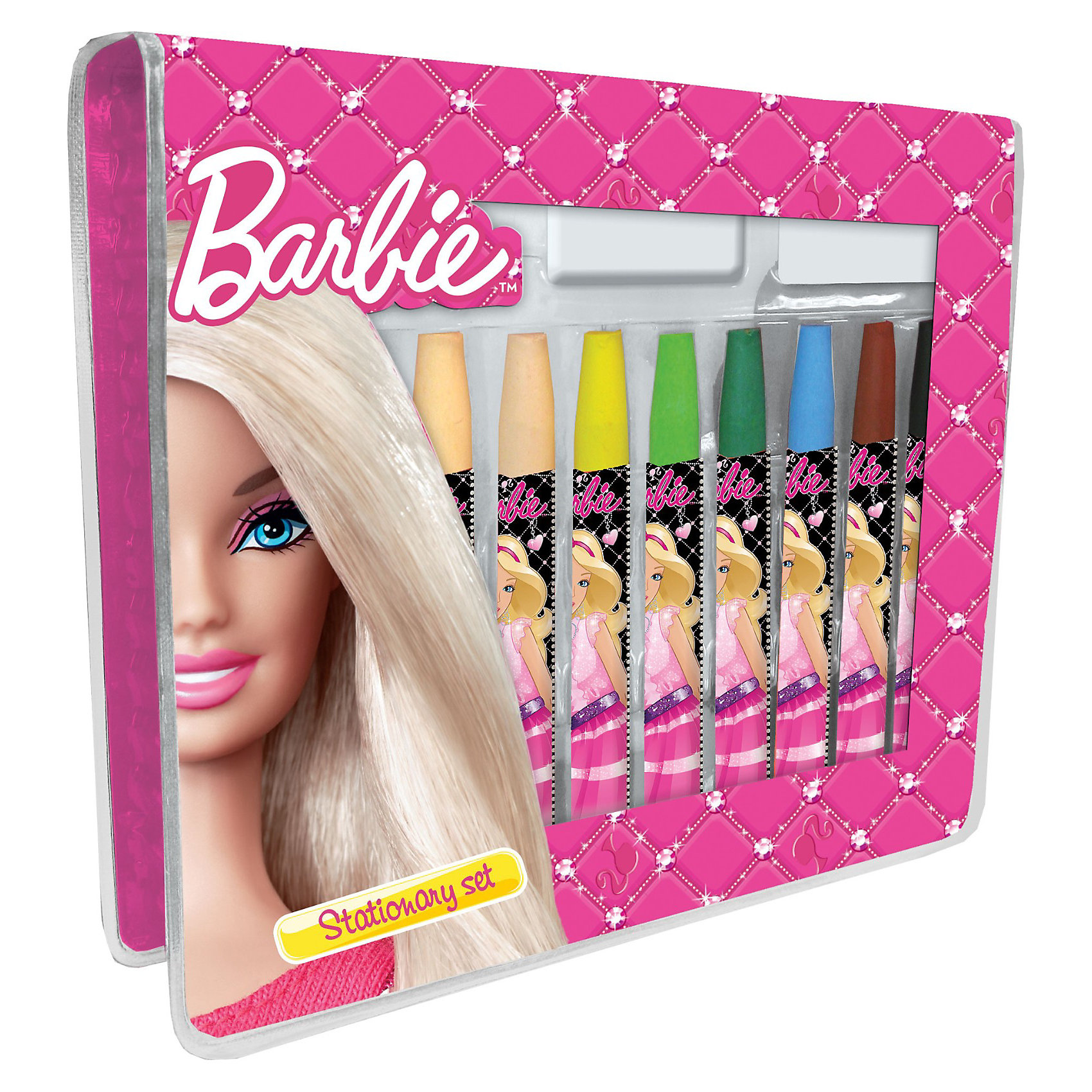 Набор для творчества: 25 предметов, BarbieBarbie<br>Все девочки любят рисовать, а также кукол Barbie (Барби)! Канцелярский набор от Академии Групп учел предпочтения маленьких художниц. Он включает в себя красочные мелки и карандаши с символикой Barbie (Барби). С этим ярким набором так легко дать волю фантазии вместе с любимой куколкой. Творить легко с набором Barbie (Барби)! В подарочном наборе для творчества есть все необходимое для создания детских живописных шедевров: 10 восковых мелков, 12 цветных карандашей , ластик, стикер и точилка. Набор упакован в красочный чемоданчик и станет приятным сюрпризом для ребенка!<br><br>Дополнительная информация:<br><br>- В наборе: 25 предметов  (цветные карандаши 12 шт, восковые мелки 10 шт, точилка, ластик, стикер);<br>- Набор выполнен в стиле куколок Barbie (Барби);<br>- Все предметы аккуратно складываются в чемоданчик;<br>- Все предметы с символикой Barbie (Барби);<br>- В наборе все необходимое для творчества;<br>- Размер: 12 х 15 х 3 см.<br><br>Набор для творчества: 25 предметов Barbie (Барби) можно купить в нашем интернет-магазине.<br><br>Ширина мм: 150<br>Глубина мм: 120<br>Высота мм: 30<br>Вес г: 400<br>Возраст от месяцев: 96<br>Возраст до месяцев: 108<br>Пол: Женский<br>Возраст: Детский<br>SKU: 3563355