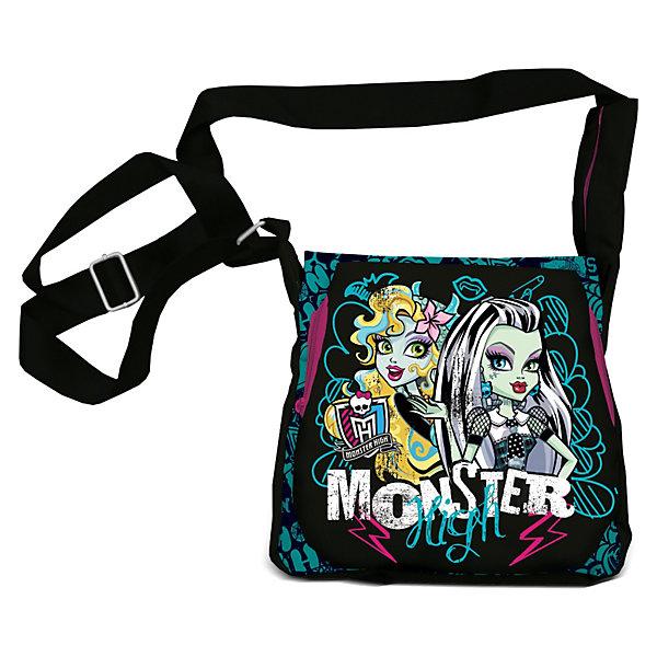 Сумка, Monster HighДетские сумки<br>Сумка Monster High (Монстер Хай)- это тот аксессуар современной школьницы, который поможет девочке подчеркнуть свою индивидуальность и выделиться среди сверстниц. Сумка непременно понравится юным модницам! Ее можно использовать как для хранения школьных принадлежностей, так и во время путешествий и прогулок. Яркая сумка с уникальной расцветкой из прочного текстиля застегивается на надежную молнию. В сумочке удобное основное отделение. Застегивается на клапан с изображением героинь популярного мультсериала Monster High (Монстер Хай). Сумка из текстиля почти невесомая, но вместительная, благодаря удобному наплечному ремню с регулировкой длины подойдет для девочек любого роста.<br><br>Дополнительная информация:<br><br>- Дизайн сумки выдержан в стиле мультфильма Monster High (Монстер Хай);<br>- Внутри есть большое отделение для вещей;<br>- Спереди имеется дополнительный карман на молнии, спрятанный под большим накладным фартуком;<br>- Для комфортного использования у сумки есть длинная регулируемая ручка;<br>- Яркий дизайн идеален для девочек;<br>- Легкая и компактная;<br>- Регулируемый по длине плечевой ремень позволяет носить сумку как на плече, так и через плечо;<br>- Сумка надежно закрывается на молнию;<br>- Размер: 26 х 27 х 8 см;<br>- Материал: полиэстер;<br>- Вес: 400 г.<br><br>Сумку, Monster High (Монстер Хай) можно купить в нашем интернет-магазине.<br>Ширина мм: 350; Глубина мм: 350; Высота мм: 200; Вес г: 500; Возраст от месяцев: 120; Возраст до месяцев: 144; Пол: Женский; Возраст: Детский; SKU: 3563369;