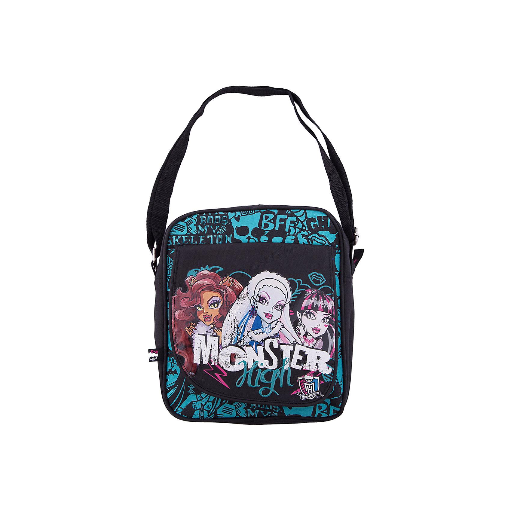 Сумка на плечо, Monster HighШкольные сумки<br>Сумка на плечо Monster High (Монстер Хай) - это тот аксессуар современной школьницы, который поможет девочке подчеркнуть свою индивидуальность и выделиться среди сверстниц. Сумка непременно понравится юным модницам! Маленькую и компактную сумочку удобно использовать во время путешествий и прогулок. Яркая сумка с уникальной расцветкой из прочного текстиля отлично держит форму, украшена декоративной отстрочкой и  застегивается на надежную молнию. В сумочке удобное основное отделение и красивый наружный карман. Карман застегивается на клапан с изображением героинь Monster High (Монстер Хай). Сумка из текстиля почти невесомая, но вместительная, благодаря удобному наплечному ремню с регулировкой длины подойдет для девочек любого роста.<br><br>Дополнительная информация:<br><br>- Дизайн сумки выдержан в стиле мультфильма Monster High (Монстер Хай);<br>- Внутри есть большое отделение для вещей;<br>- Спереди имеется дополнительный карман;<br>- Для комфортного использования у сумки есть длинная регулируемая ручка;<br>- Яркий дизайн идеален для девочек;<br>- Легкая и компактная;<br>- Регулируемый по длине плечевой ремень позволяет носить сумку как на плече, так и через плечо;<br>- Сумка надежно закрывается на молнию;<br>- Размер: 23 х 19,5 х 5 см;<br>- Материал: полиэстер;<br>- Вес: 320 г.<br><br>Сумку на плечо, Monster High (Монстер Хай) можно купить в нашем интернет-магазине.<br><br>Ширина мм: 350<br>Глубина мм: 350<br>Высота мм: 200<br>Вес г: 500<br>Возраст от месяцев: 120<br>Возраст до месяцев: 144<br>Пол: Женский<br>Возраст: Детский<br>SKU: 3563370