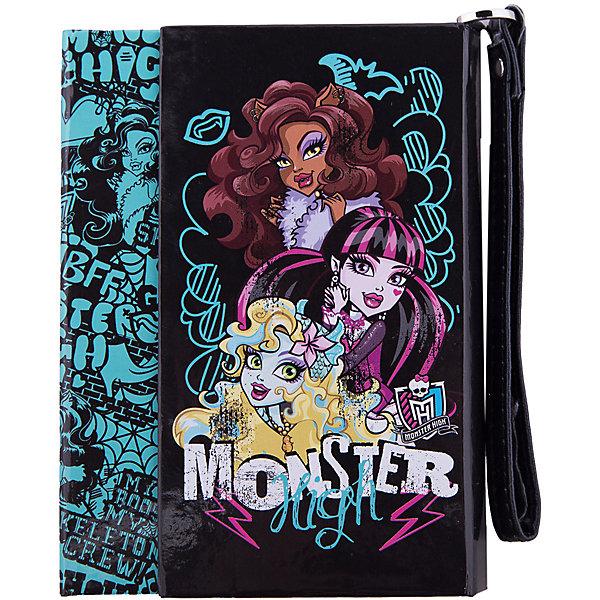 Ноутбук с ручкой, 100л, Monster HighБумажная продукция<br>Представляем Вашему вниманию удобнейшую вещь для современной школьницы - ноутбук с ручкой 100л, Monster High (Монстер Хай). Блокнот сделан в виде книжки с захлестом, благодаря чему страницы не испачкаются и не повредятся при переноске. Блокнот удобно носить благодаря стильной ручке из искусственной кожи. Блокнот стильный и актуальный, выполнен по мотивам любимого девочками мультфильма  Monster High (Монстер Хай). Плотная яркая обложка скрывает 100 листов красивой гладкой бумаги, в которую девочке обязательно понравится записывать все необходимое!<br><br>Дополнительная информация:<br><br>- Блокнот с ручкой из искусственной кожи  Monster High (Монстер Хай) удобен для переноски и хранения;<br>- Красивая плотная обложка закрывает листы с двух сторон внахлест;<br>- 100 гладких листов для записей и рисунков;<br>- На внешней стороне изображены героини популярного мультсериала Monster High (Монстер Хай);<br>- Яркий дизайн идеален для девочек;<br>- Легкий и компактный;<br>- Размер упаковки: 15 х 11,3 см;<br>- Материал: бумага, картон, искусственная кожа;<br>- Вес: 196 г.<br><br>Ноутбук с ручкой 100л Monster High (Монстер Хай) можно купить в нашем интернет-магазине.<br><br>Ширина мм: 280<br>Глубина мм: 220<br>Высота мм: 10<br>Вес г: 400<br>Возраст от месяцев: 120<br>Возраст до месяцев: 144<br>Пол: Женский<br>Возраст: Детский<br>SKU: 3563379