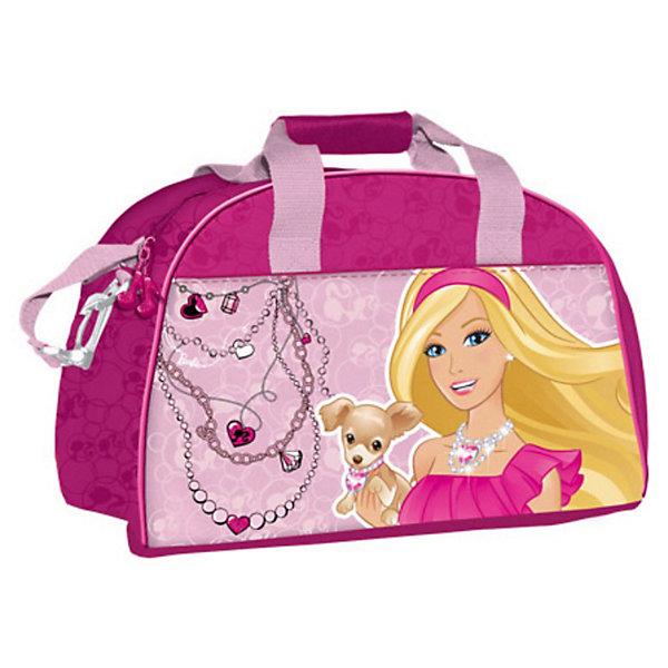 Сумка спортивная, BarbieДорожные сумки и чемоданы<br>Детская спортивная сумка придется по вкусу любой активной девочке, посещающей спортзал или спортивные секции.<br>Сумка изготовлена из высококачественного износостойкого полиэстера и оформлена оригинальным принтом.<br>Сумка состоит из одного вместительного отделения, закрывается на застежку-молнию. Внутри располагается небольшой накладной карман на застежке-молнии. Сумка имеет удобные ручки для переноски, а также съемный плечевой ремень, регулирующийся по длине. Сумка очень просторная, в ней без труда поместится спортивная форма или сменная одежда.<br>Спортивная сумка - незаменимый аксессуар, она сочетает в себе практичность и современный дизайн и сделает посещение спортивных секций не только полезным, но и приятным занятием!<br><br>Дополнительная информация:<br><br>Размер: 40 х 26 х 22 см.<br><br>Спортивную Сумку Barbie (Барби) можно купить в нашем магазине.<br><br>Ширина мм: 260<br>Глубина мм: 400<br>Высота мм: 220<br>Вес г: 561<br>Возраст от месяцев: 96<br>Возраст до месяцев: 108<br>Пол: Женский<br>Возраст: Детский<br>SKU: 3563393