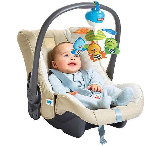 Универсальный мобиль, Tiny LoveИгрушки для новорожденных<br>Этот малый универсальный мобиль создан опытными разработчиками Tiny Love с учетом психологии и физиологических особенностей маленького ребенка. <br>В мобиле установлен проигрыватель, который может длительное время воспроизводить приятные музыкальные фрагменты. Грамотно сконструированная система креплений позволяет надежно закреплять устройство на манежах, переносных люльках, автомобильных креслах и колясках различных типов.  <br>Яркие игрушки обязательно привлекут внимание малыша и развеселят кроху. Все детали мобиля выполнены из высококачественных материалов, в производстве которых использованы только гипоаллергенные, нетоксичные красители безопасные для детей. <br><br>Дополнительная информация:<br><br>- Материал: пластик, текстиль.<br>- Размер: 27х33х34 см.<br>- 5 мелодий (общая продолжительность примерно 30 мин).<br>- 2 режима: вращение и вращение с музыкой.<br>- Элемент питания: 3  АА батарейки (нет в наборе).<br>- Игрушки: птичка, лягушонок, зайчик.<br>- Легко собирается и надежно крепится.<br>- Хорошее качество проигрывания мелодий.<br><br>Универсальный мобиль, Tiny Love, можно купить в нашем магазине.<br>Ширина мм: 340; Глубина мм: 195; Высота мм: 111; Вес г: 540; Возраст от месяцев: 0; Возраст до месяцев: 18; Пол: Унисекс; Возраст: Детский; SKU: 3563562;