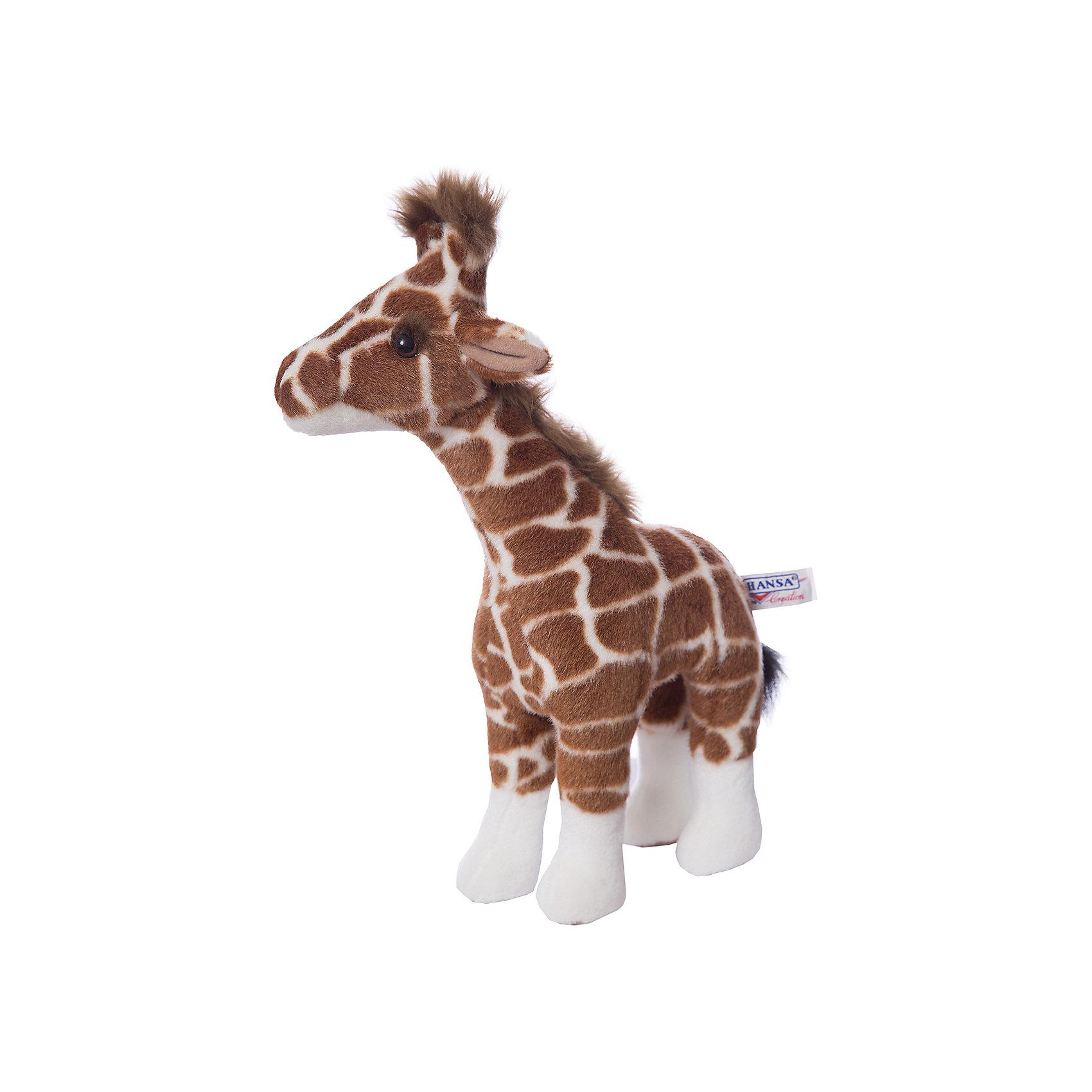 Жираф, 38 см,  HansaЗвери и птицы<br>Симпатичный пятнистый жираф 38 см от Hansa (Ханса) с милейшей мордашкой и пучком волос станет настоящим другом для Вашего малыша! Зверушка настолько обаятельная, что не оставит равнодушным никого. Игрушка сделана из приятной на ощупь ткани, внутри неё находится гипоаллергенный наполнитель, поэтому жирафа можно брать в кроватку. Африканский житель принесет в Ваш дом много радости и счастья.<br><br>Мягкая игрушка  Жираф от  Hansa (Ханса)  настолько похожа на оригинал, что ее можно было бы спутать с настоящим животным, если б не разница в размерах. Игрушка сшита вручную из искусственного меха, текстиля и иных материалов высокого качества. Также она оснащена проволочным каркасом, позволяющим придавать зверушке различные позы.  Модель может быть использована не только в качестве классической мягкой игрушки, но и как элемент декора в интерьере. Изготавливаются из искусственного меха, специально обработанного для придания схожести с мехом конкретного вида животного. <br><br>Дополнительная информация:<br><br>- Высота: 38 см;<br>- Материал: искусственный мех, металл;<br>- Размер упаковки: 38 х 12 х 22 см;<br>- Вес с упаковкой: 265 г.<br><br>Жирафа, 38 см,  Hansa (Ханса) можно купить в нашем интернет-магазине.<br><br>Ширина мм: 220<br>Глубина мм: 120<br>Высота мм: 380<br>Вес г: 265<br>Возраст от месяцев: 36<br>Возраст до месяцев: 144<br>Пол: Унисекс<br>Возраст: Детский<br>SKU: 3563688