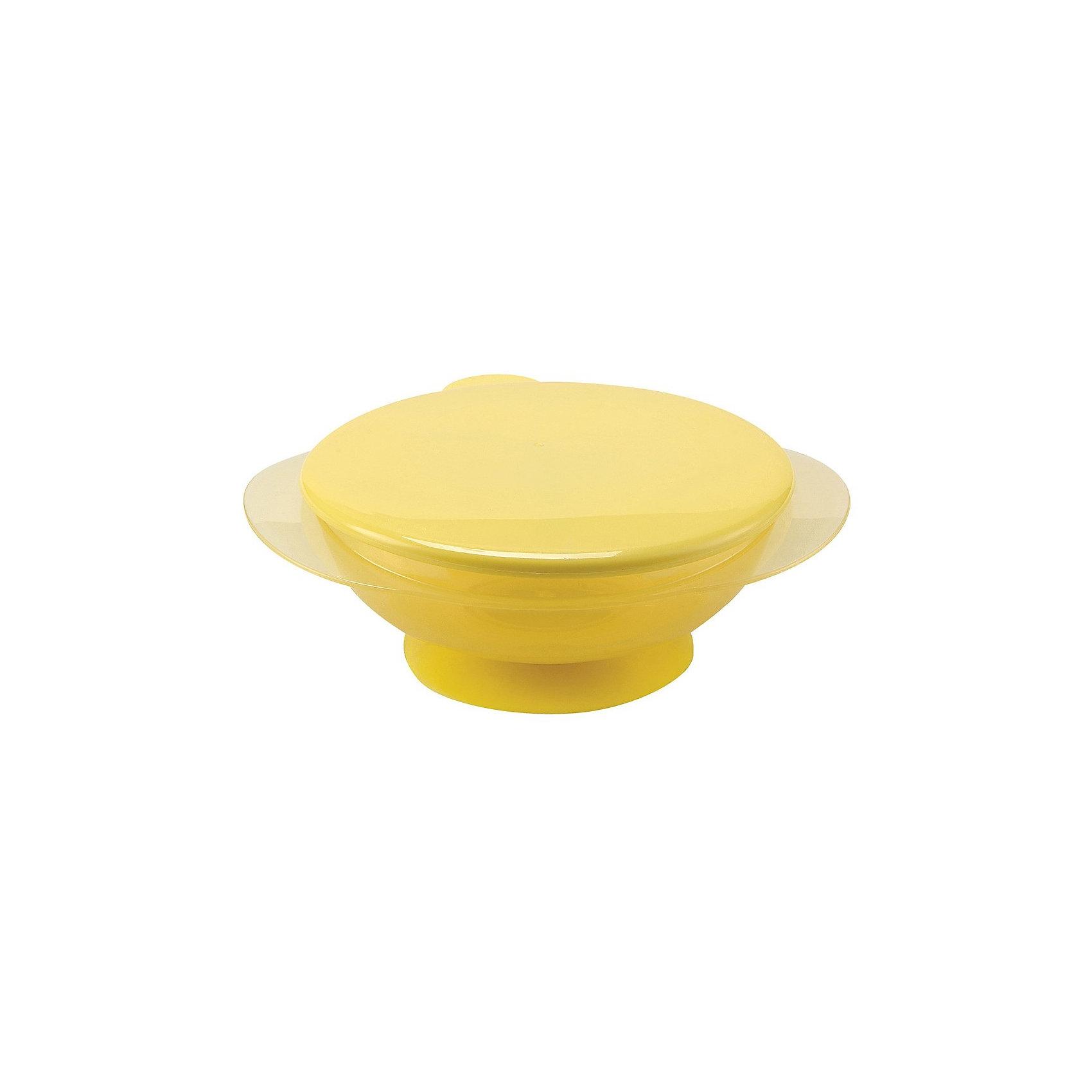 Тарелка на присоске с крышкой EAT &amp; CARRY, Happy Baby, жёлтыйПосуда для малышей<br>Детская тарелка на присоске с крышкой EAT &amp; CARRY, Happy Baby (Хэппи Бэби), жёлтый - обязательно понравится вашему  малышу. <br>Детская тарелка на присоске с крышкой EAT &amp; CARRY яркая, заметная, красивая, ваш ребенок сразу ее полюбит. Тарелочка прозрачная – вы всегда увидите содержимое. Нескользящее дно с присоской позволяет зафиксировать ее на столике, а крышка пригодится, если вы собираетесь взять тарелку с собой в поездку, кроме того герметичная крышка сохраняет вкус и свежесть продуктов. Можно использовать как для горячей, так и для холодной пищи. Тарелка долго поддерживает температуру. У тарелки эргономичные мягкие ручки.<br><br>Дополнительная информация:<br><br>- Объем: 250 мл.<br>- Материал: полипропилен, термопластичный эластомер<br>- Не содержит бисфенол А<br>- Можно использовать в микроволновой печи<br>- Уход: мыть теплой водой с мылом, тщательно ополаскивать. Не кипятить<br>- Вымыть перед первым использованием<br><br>Детскую тарелку на присоске с крышкой EAT &amp; CARRY, Happy Baby (Хэппи Бэби), жёлтую можно купить в нашем интернет-магазине.<br><br>Ширина мм: 400<br>Глубина мм: 160<br>Высота мм: 290<br>Вес г: 125<br>Возраст от месяцев: 8<br>Возраст до месяцев: 36<br>Пол: Унисекс<br>Возраст: Детский<br>SKU: 3564189