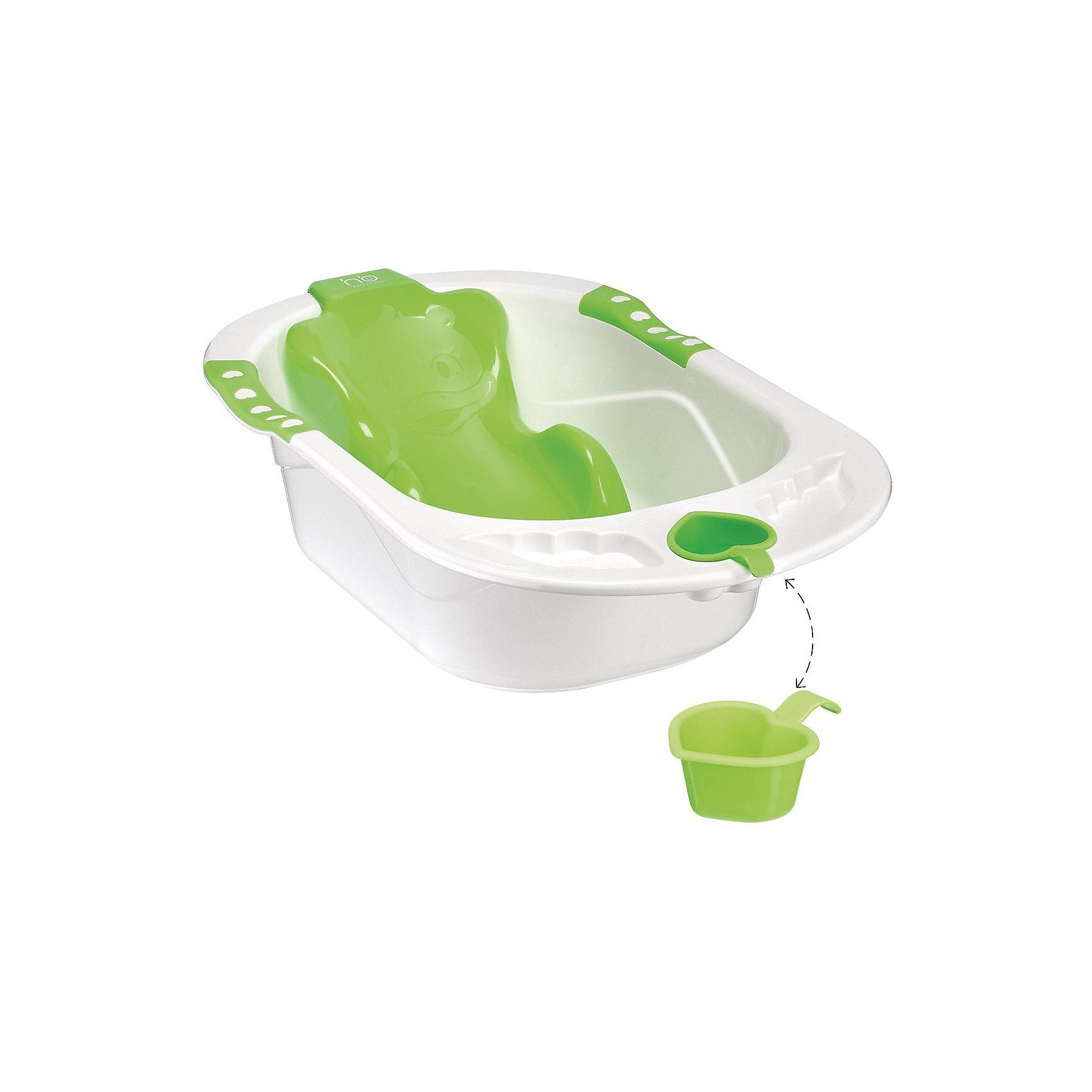 Ванна с анатомической горкой BATH COMFORT, Happy Baby, зеленый